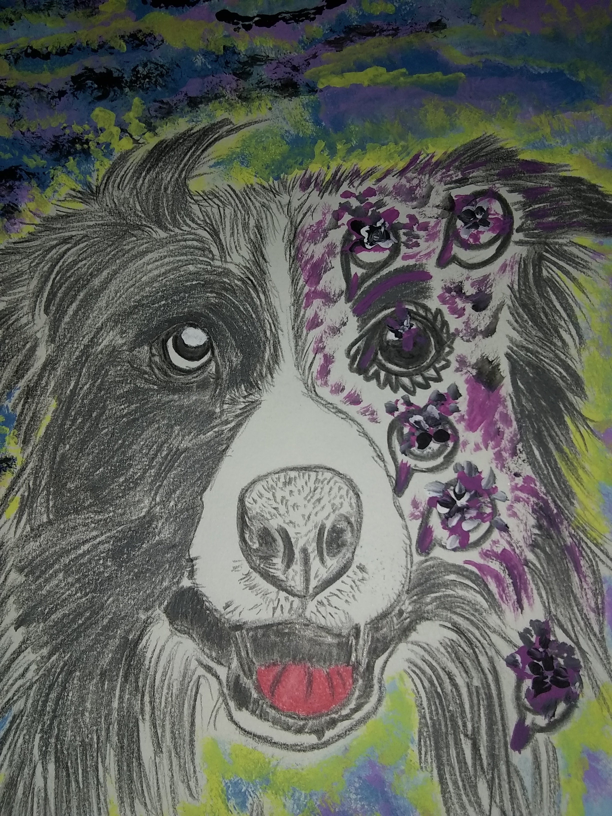 Puppy, drawing, eyes, pencil, dogs, animals, flowers, fantasy art