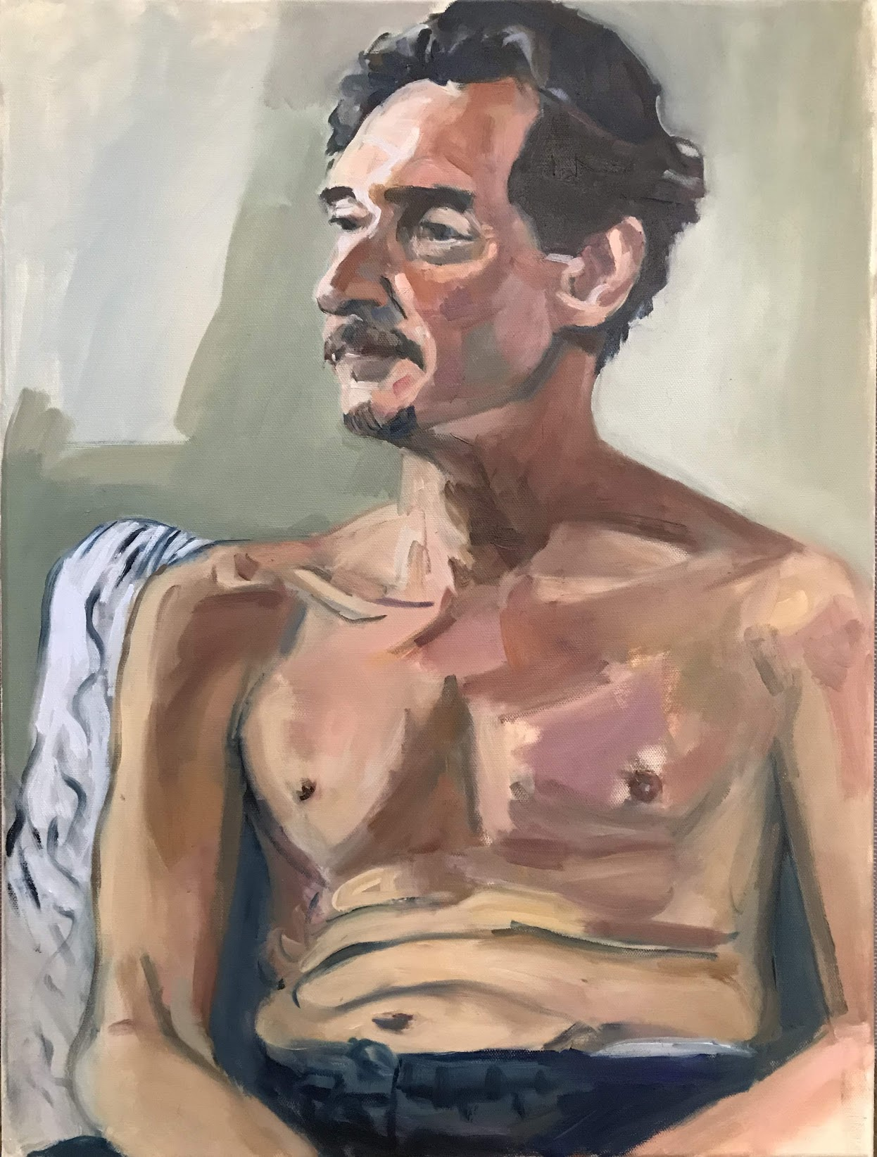 Oil portrait of seated model, from life,  semi clothed, in natural lighting