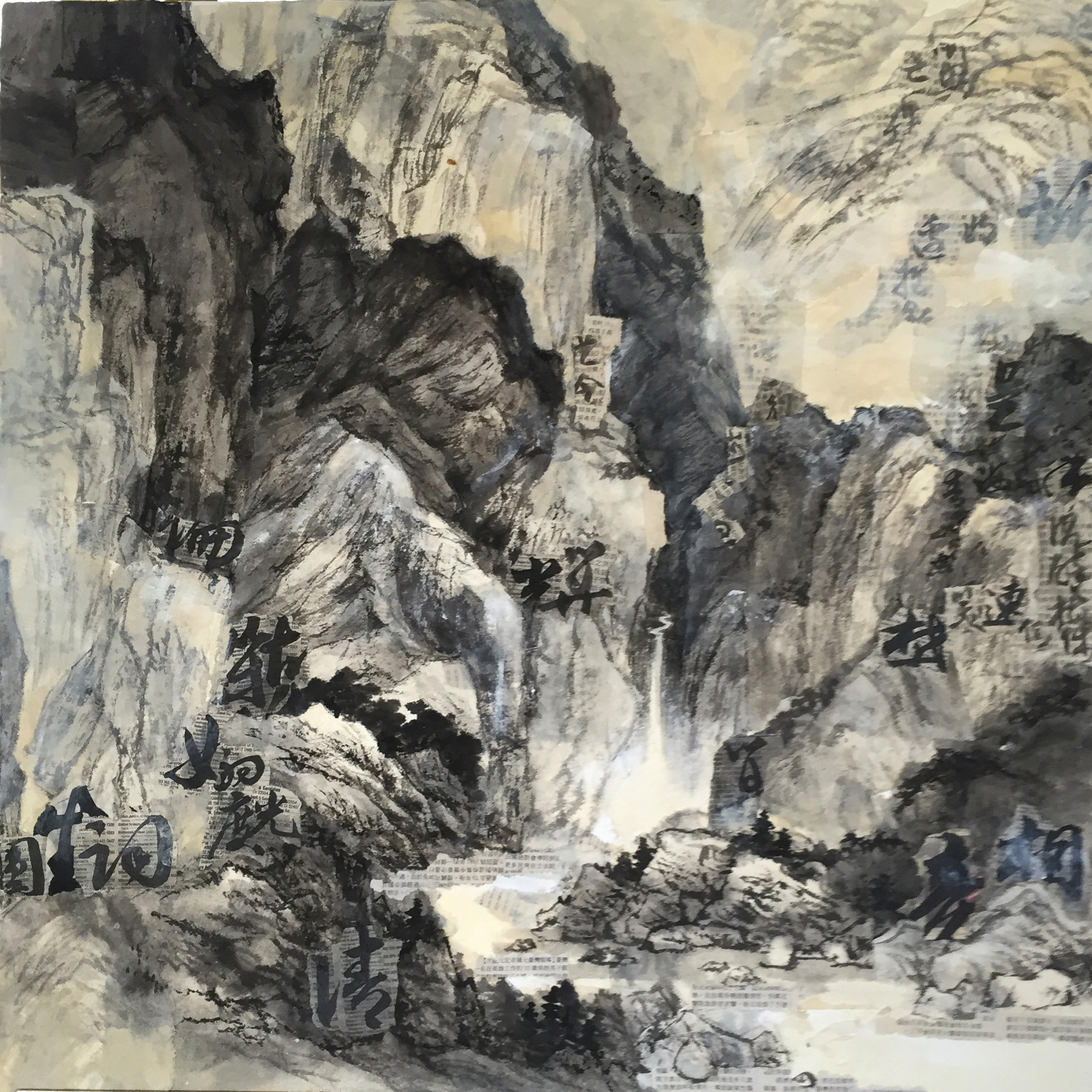 Landscape of Mountains collaged with Calligraphy of Chinese Poetry