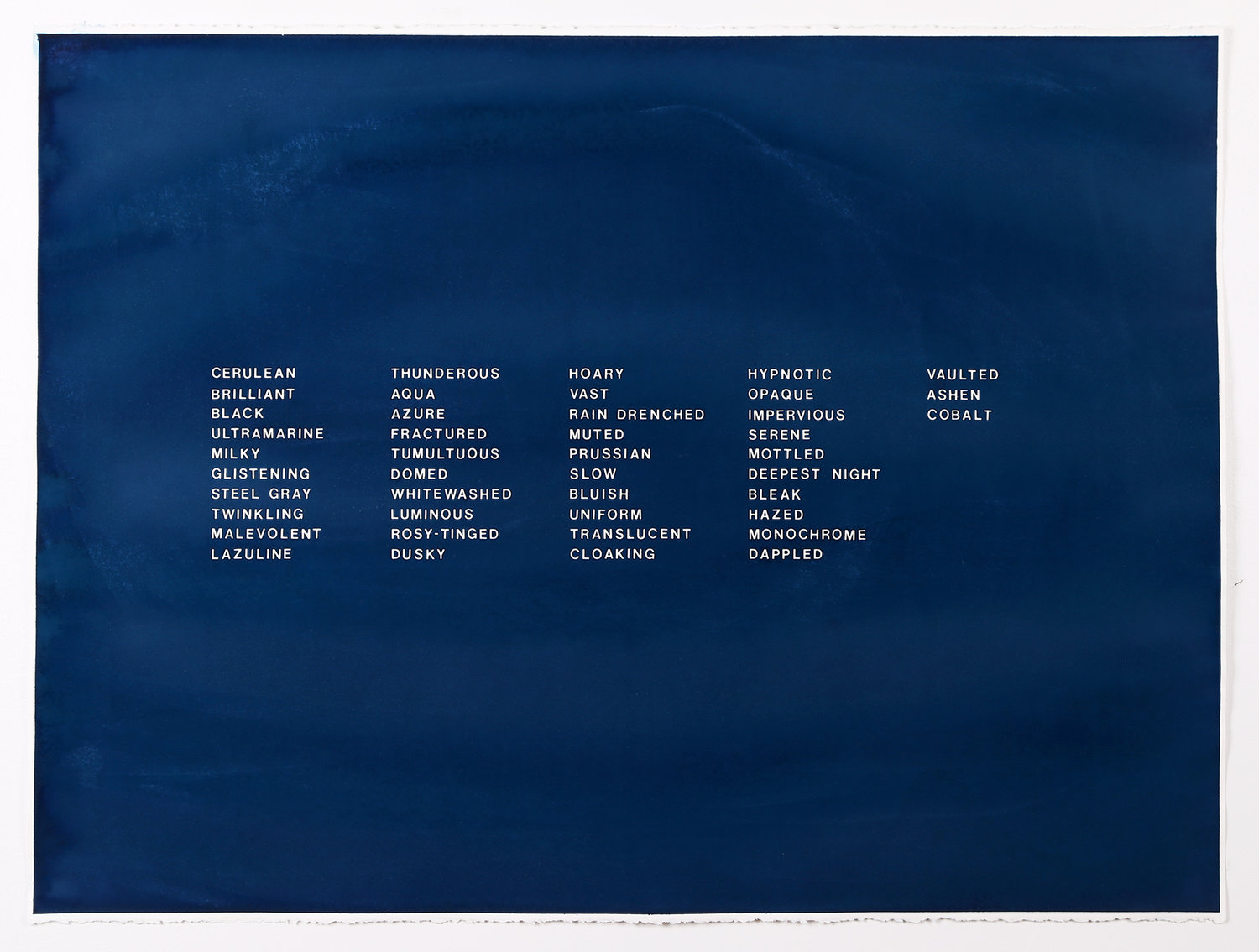 43 words to describe the color of the sky, cyanotype on paper by Julie Wills