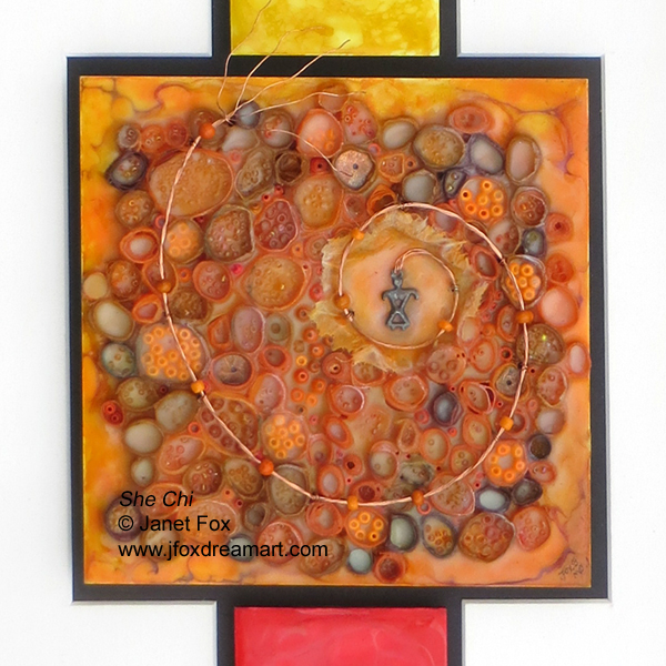 "Female pendant focal point of ""She Chi"" an encaustic mixed media painting by Janet Fox, J Fox Dream Art Studio"