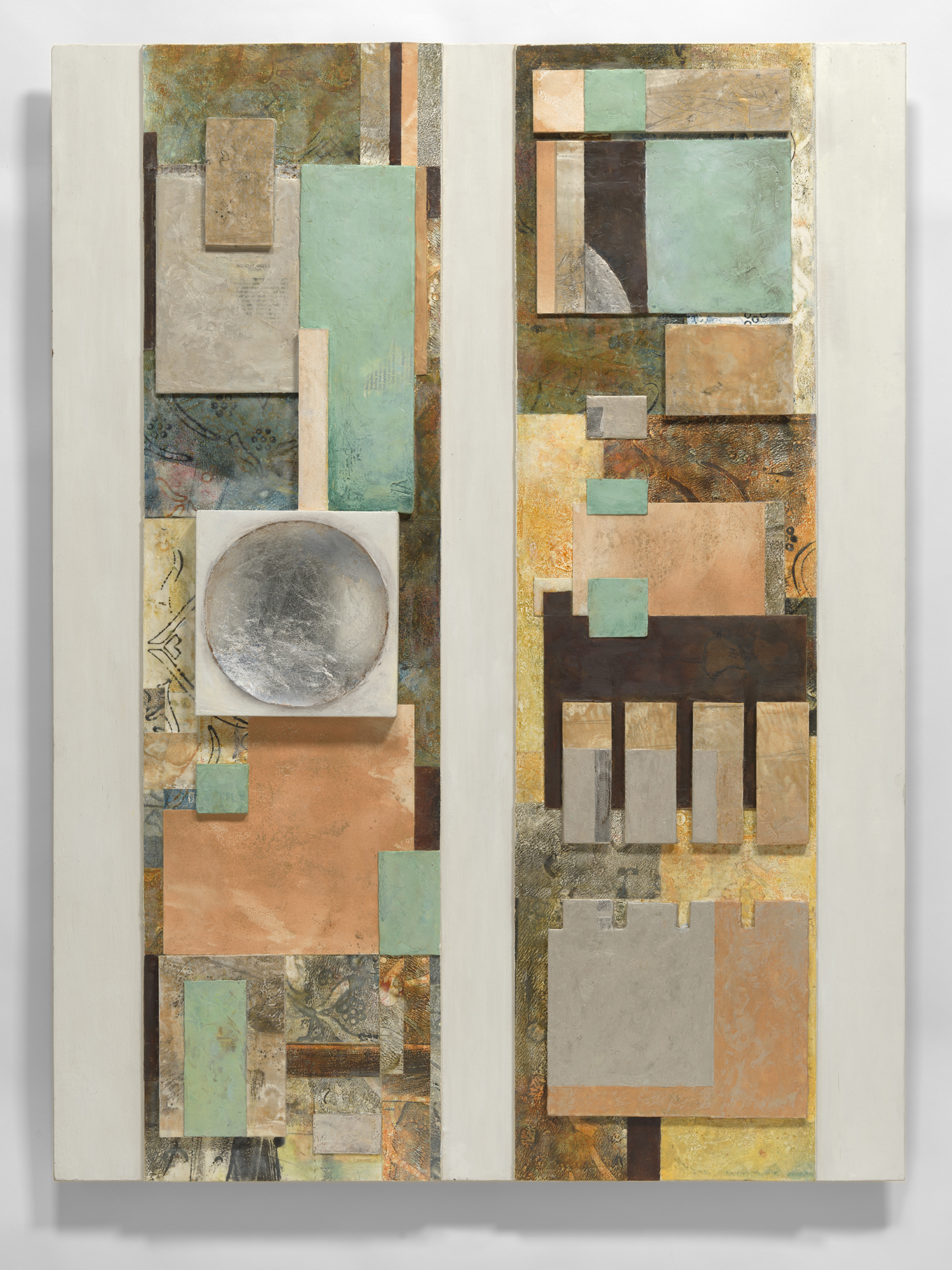 Assemblage with grid pattern encaustic and gold/silver leaf and pigment