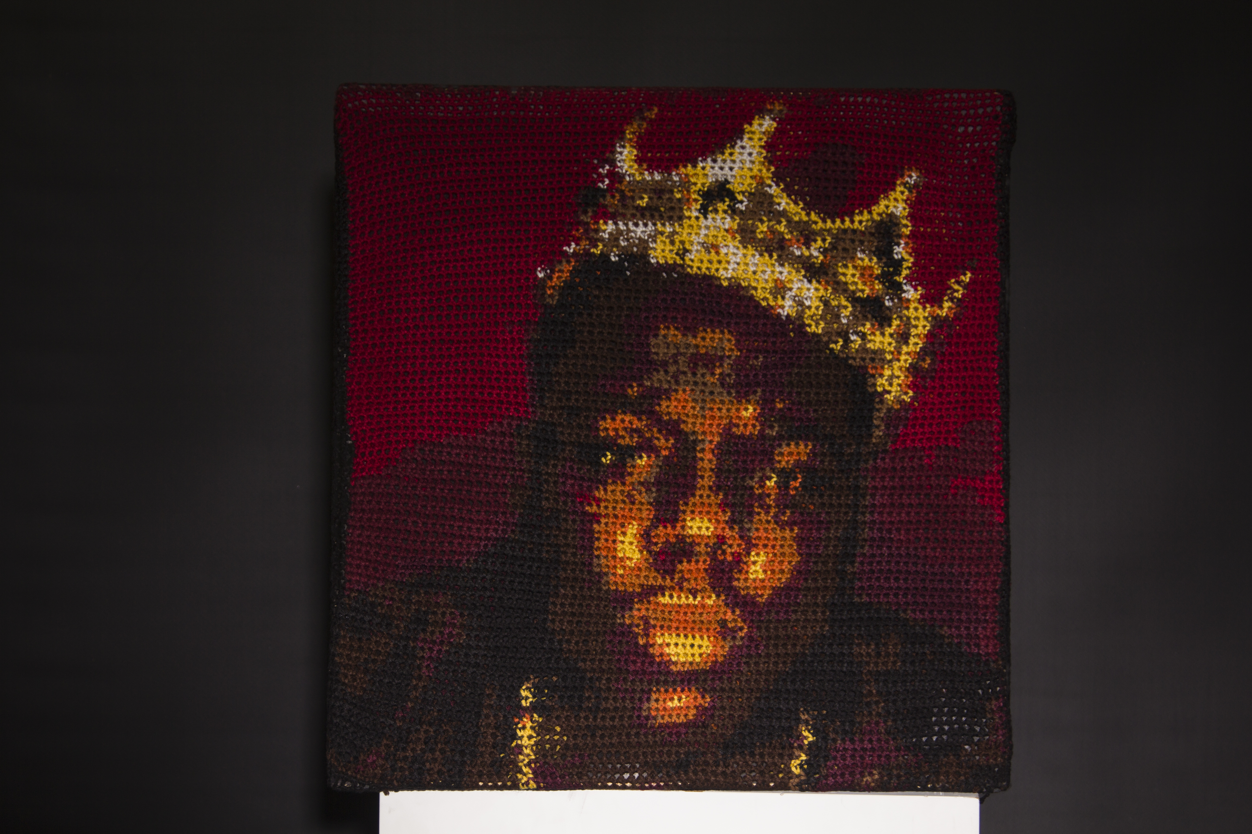 Hand crocheted portrait of Christopher Wallace