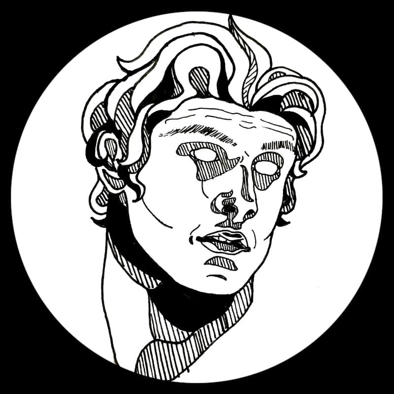 Black and white, pen and ink drawing of Greek bust, depicting a youthful Apollo.