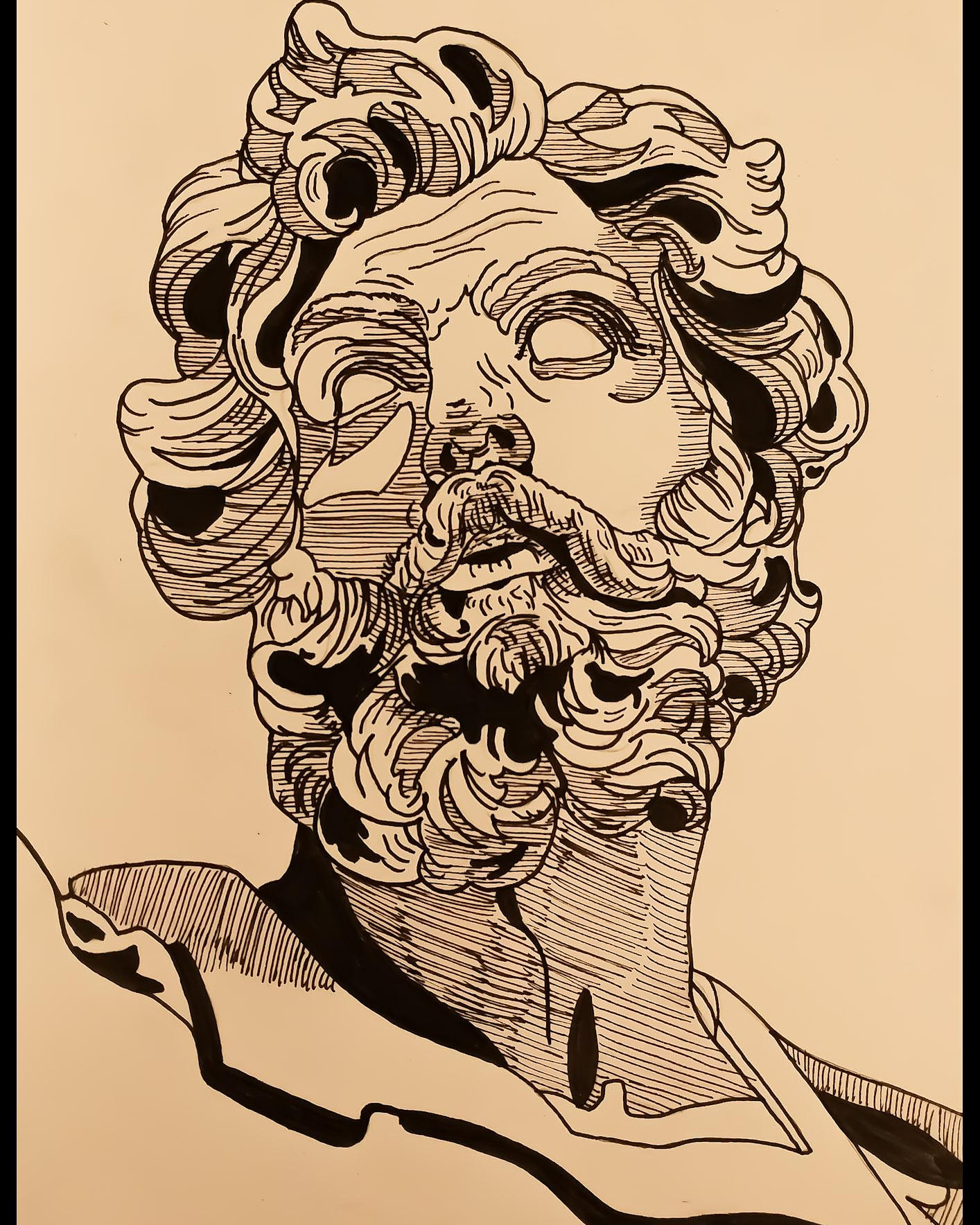 Pen and Ink bust drawing of Greek sculpture, depicting a male god.