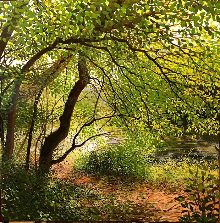 A sparkling late summer light filtered through foliage enlivens this image.