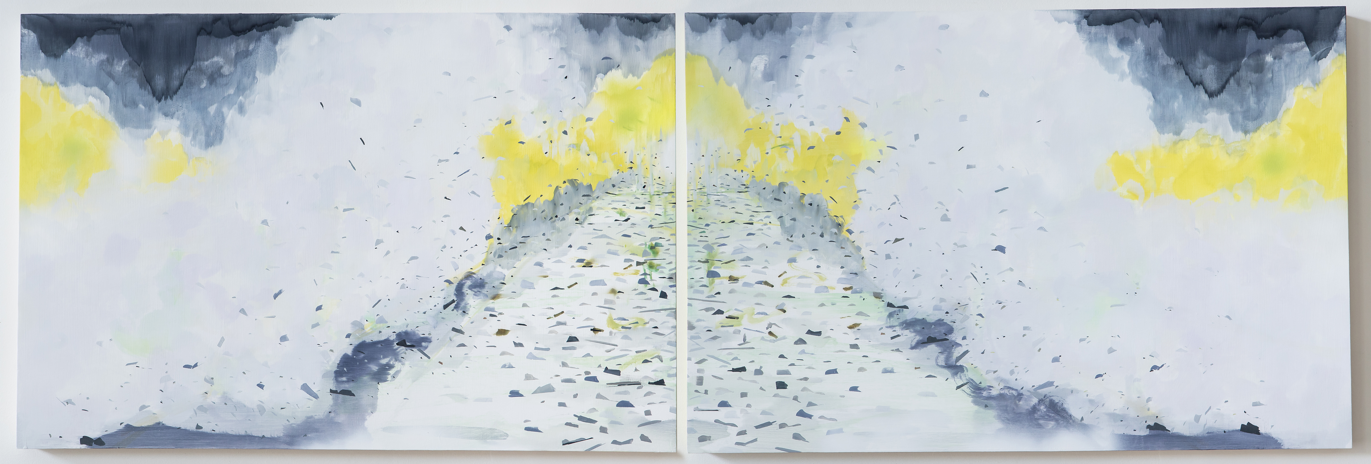 Two-part painting of waves crashing into the shore, debris flying. Diptych 24 x 73 inches, each panel is 24 x 36 inches