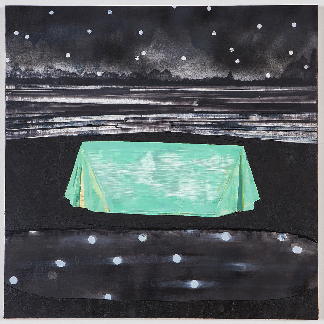 Oil painting with a green tent in a stark night landscape.