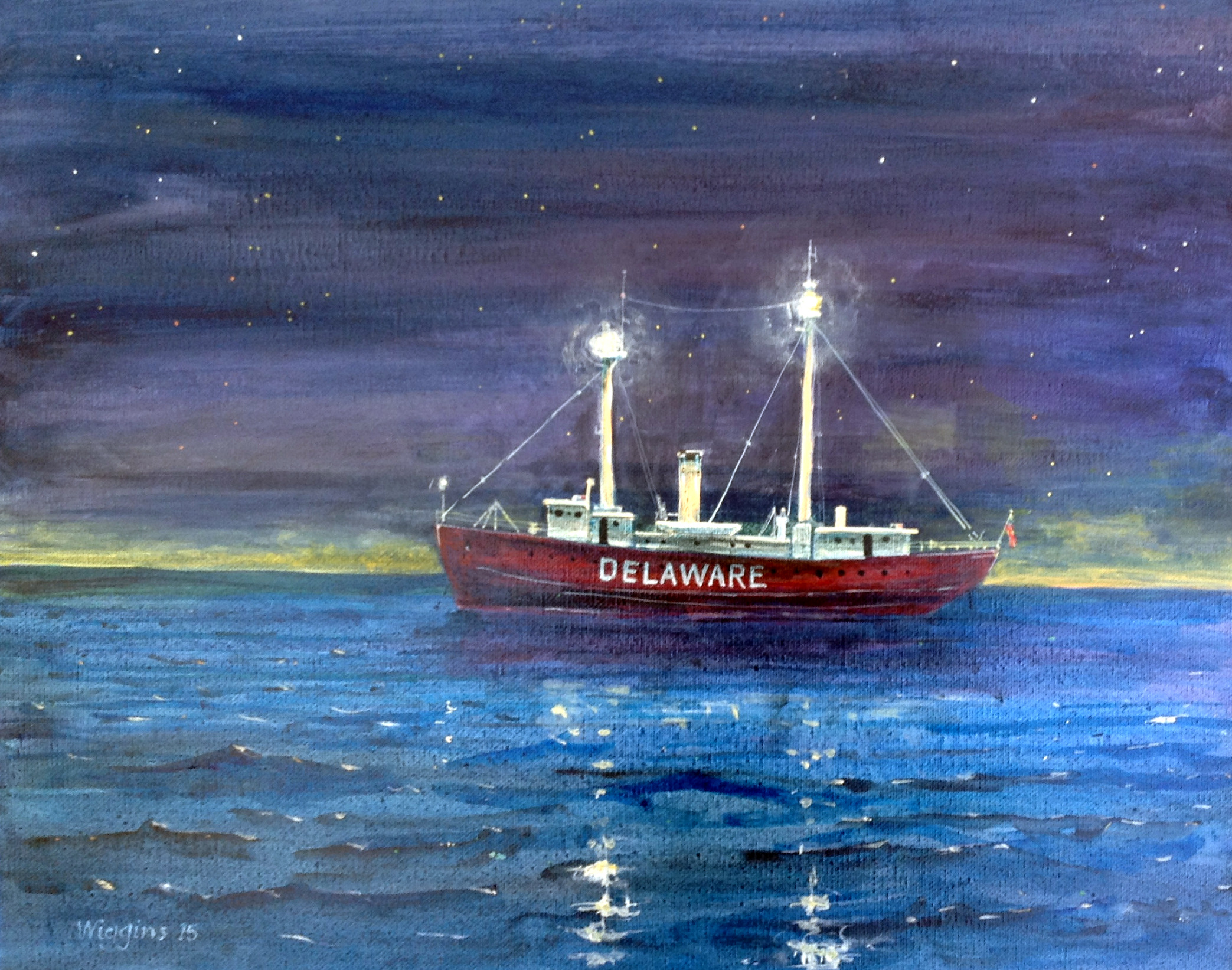 Painting of lightship at sea in the night