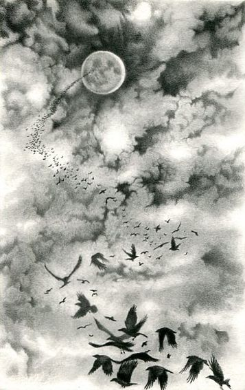 Flock of ravens flying up into the clouds toward a distant moon