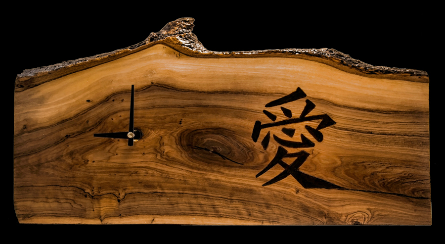 Wood Burned Clock-Olive Wood Chinese Character (Love)