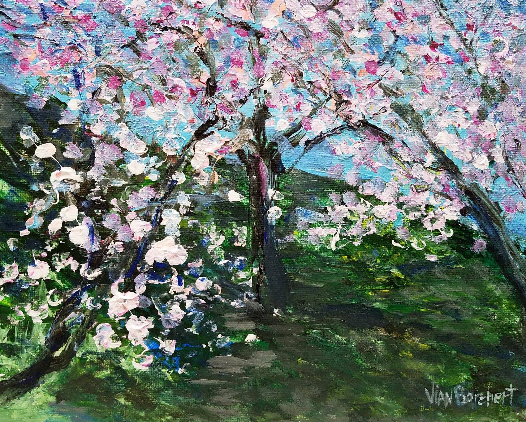 Cherry blossom, painting, impressionist, expressionist, abstract, art, landscape, abstract expressionism