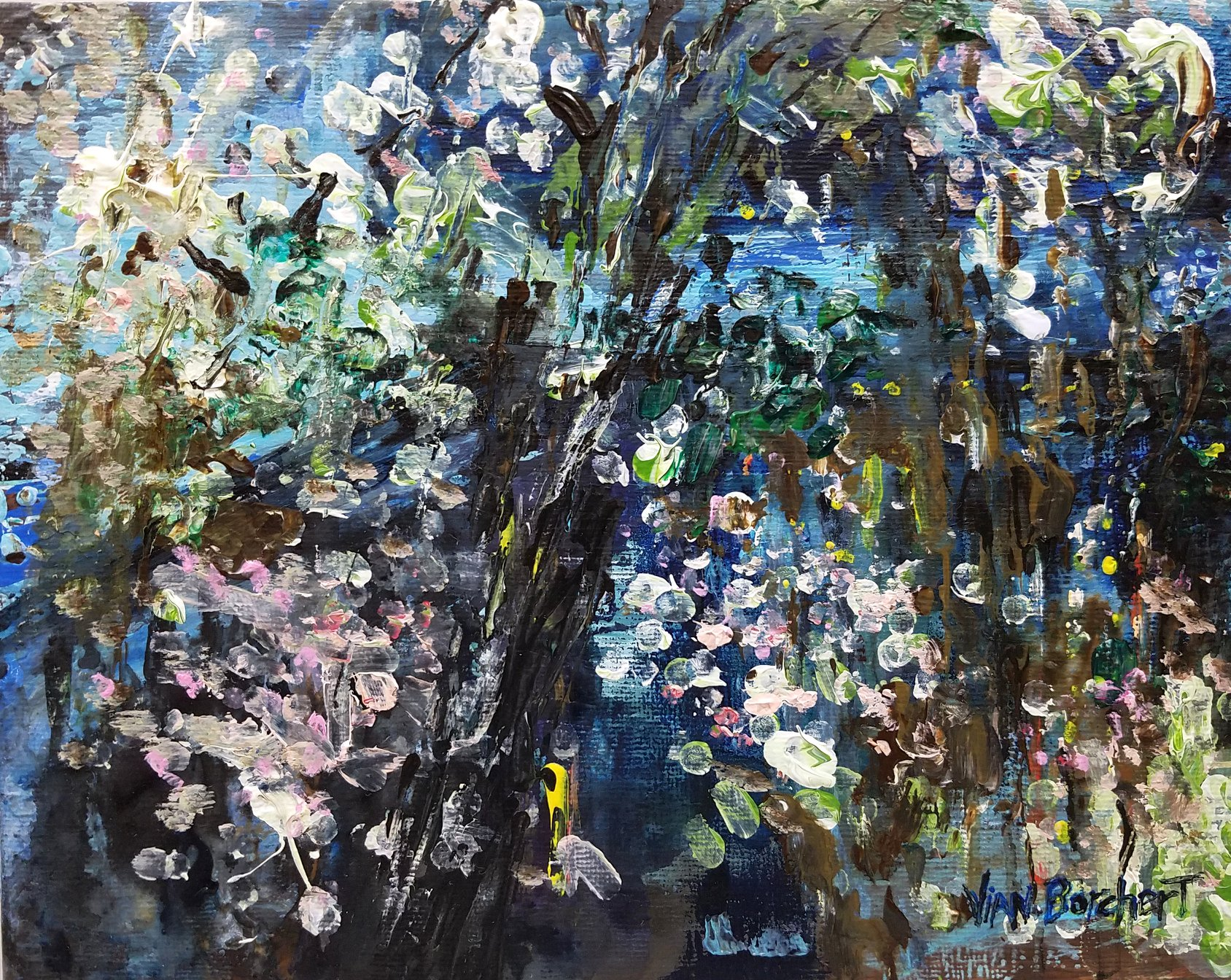 Painting, art, cherry blossom, impressionist, expressionist, abstract, landscape, abstract expressionism