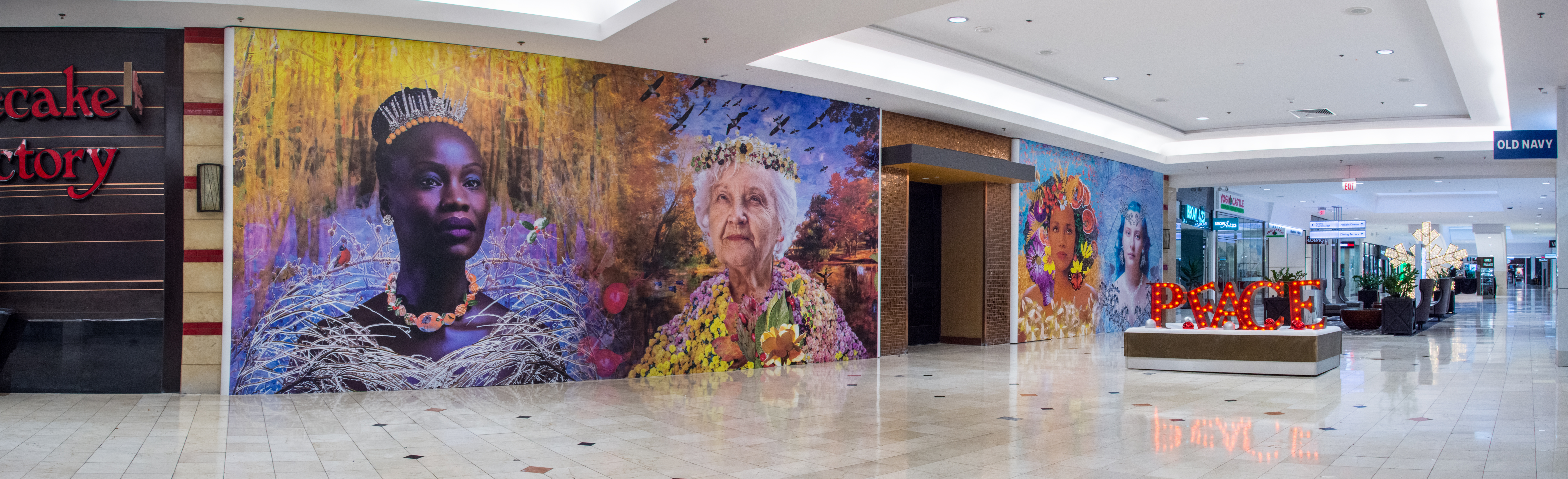 Large wall murals of my Four Seasons series at Westfield Montgomery Mall
