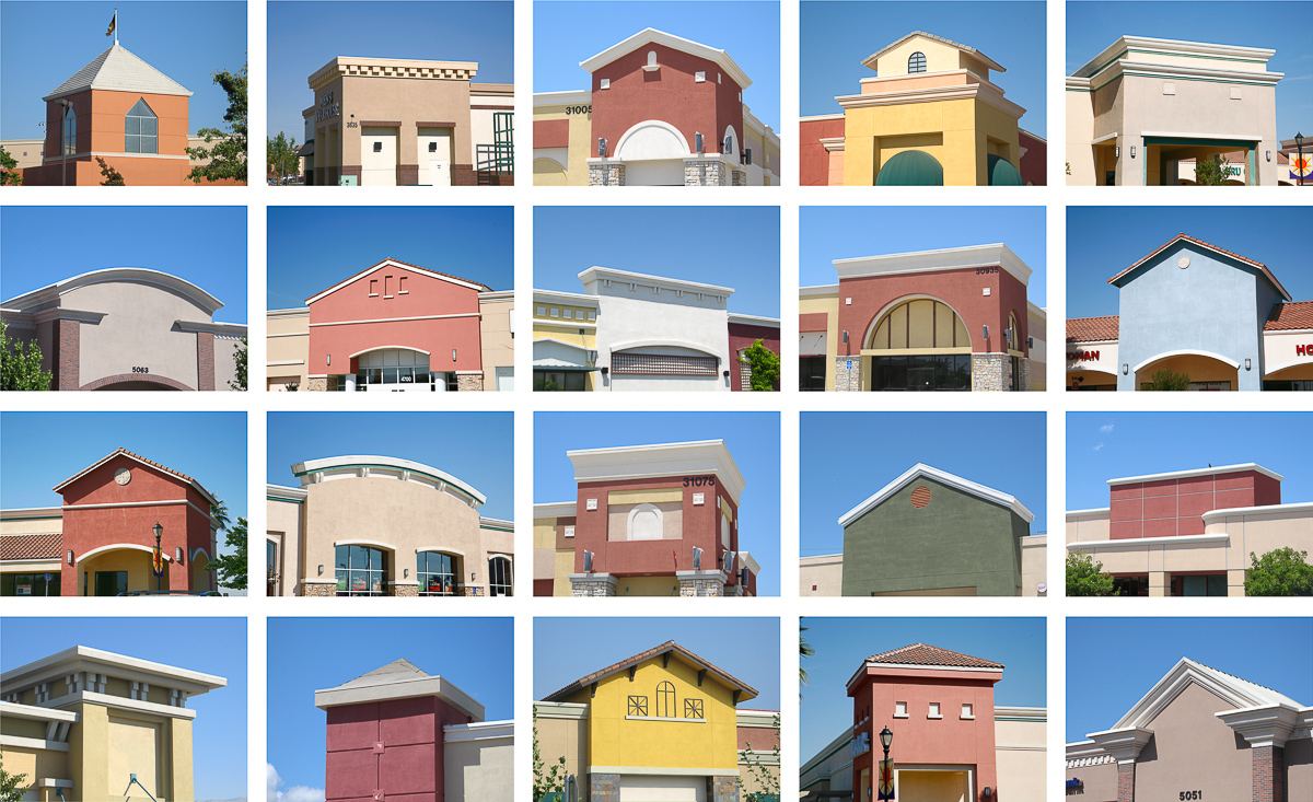 grid of 20 shopping mall photos, from the series Ridgemont Typologies