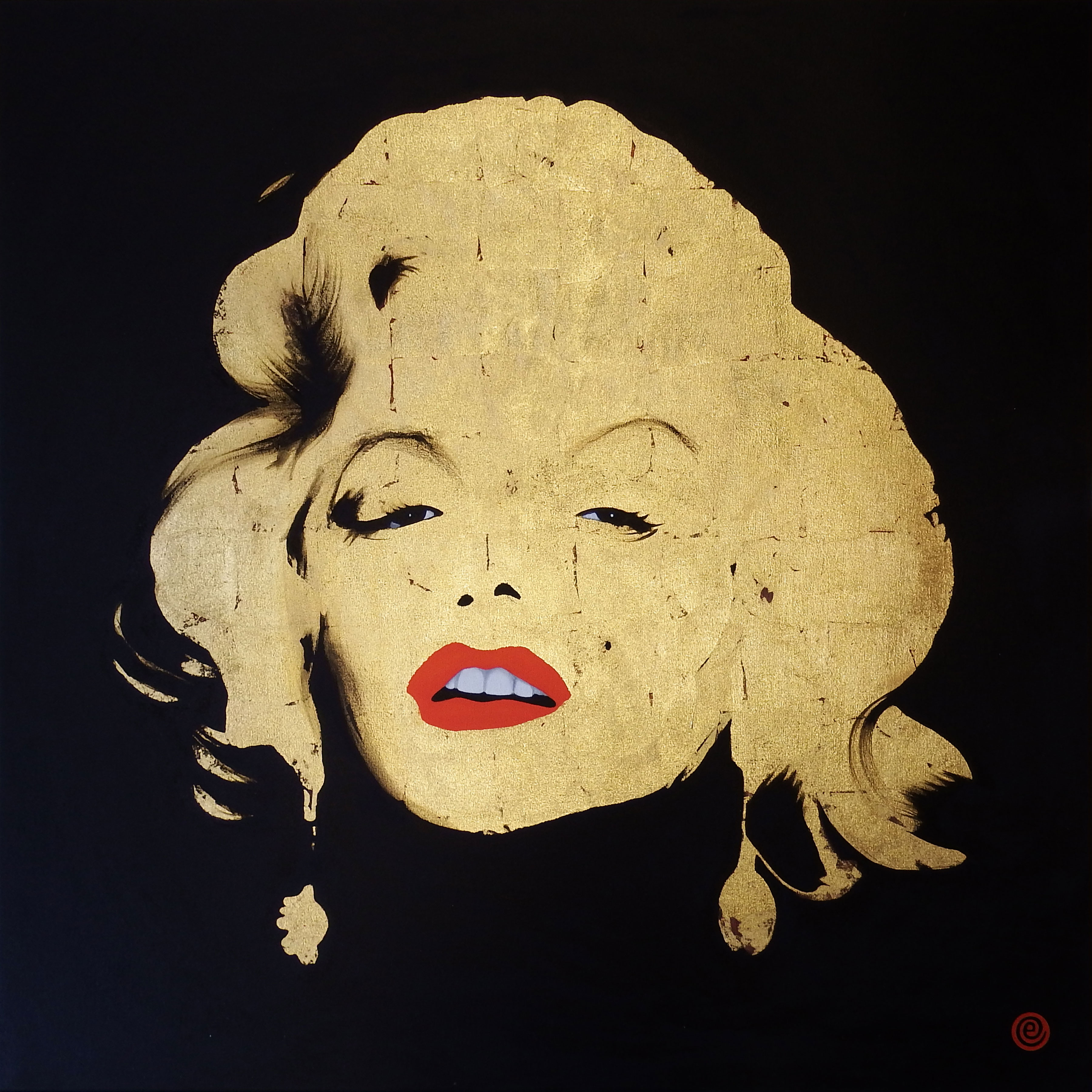 Oil on canvas with 24 karat gold leaf portrait of Marilyn Monroe
