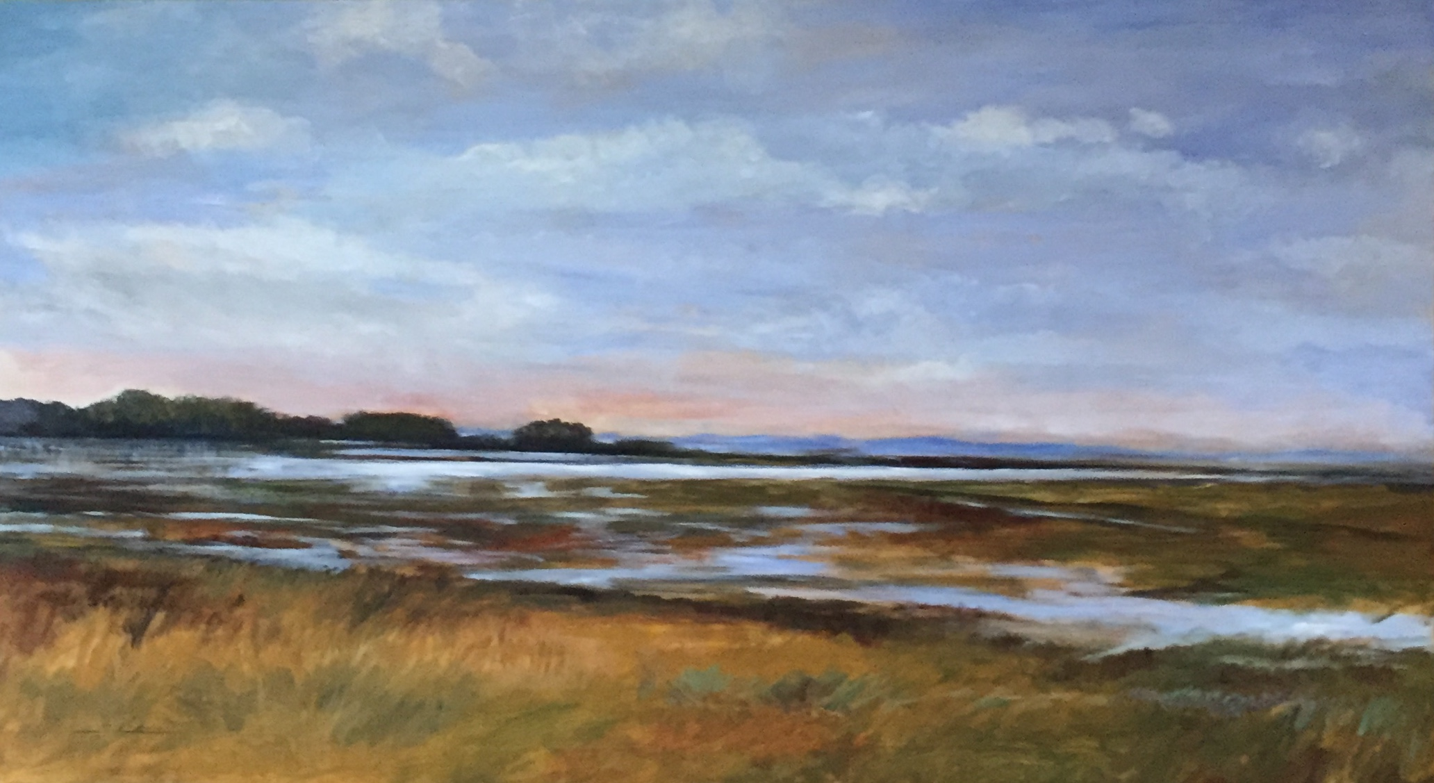 Acrylic painting of Indian River Bay marshlands