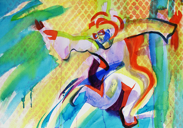 brightly colored and patterned acrobat painted in watercolor