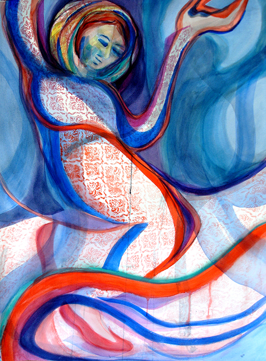 """Dancing with Shadows"" is watercolor, 30"" h x 22"" w, painted in 2018. It's hot contours and patterns are set in a cool ground."