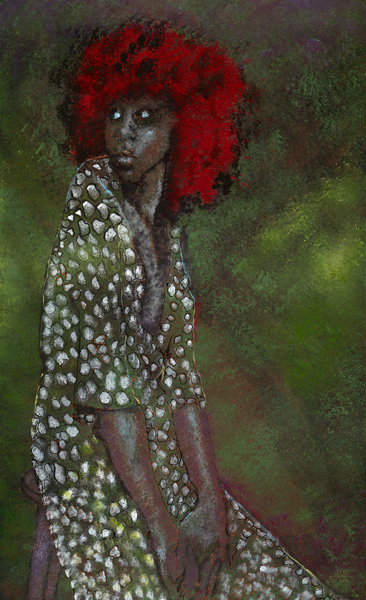 Painting of a young African American Woman living in fear of repeated sexual abuse.