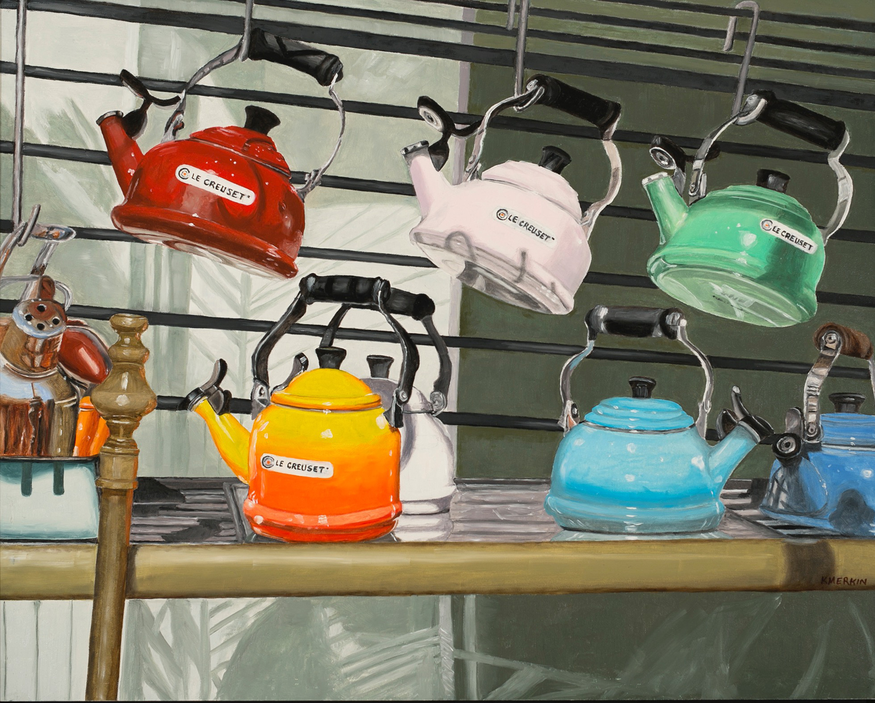 Photo-realistic image in oils of teapots in store window display