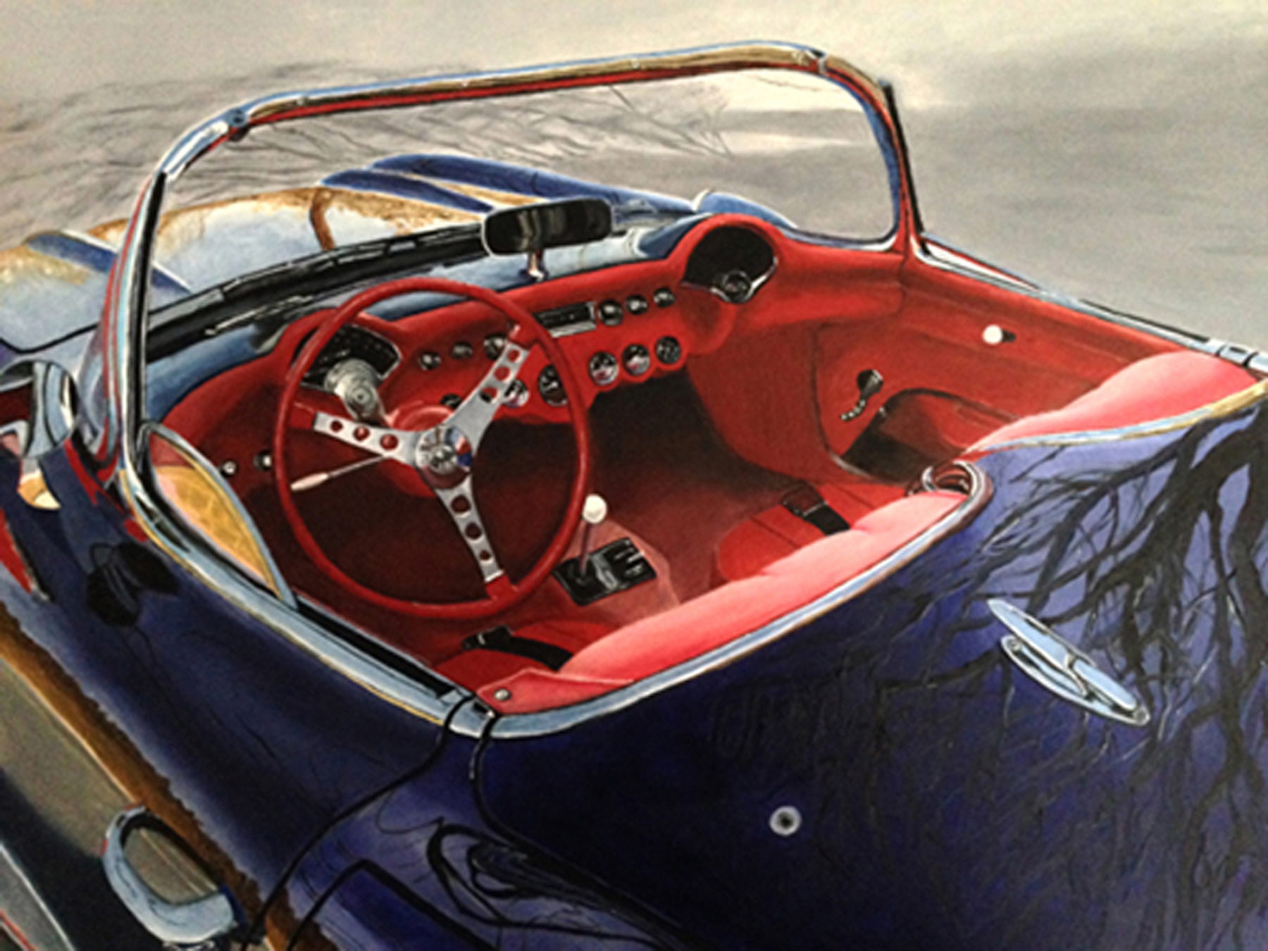Photo-Realistic painting in oils of restored corvette