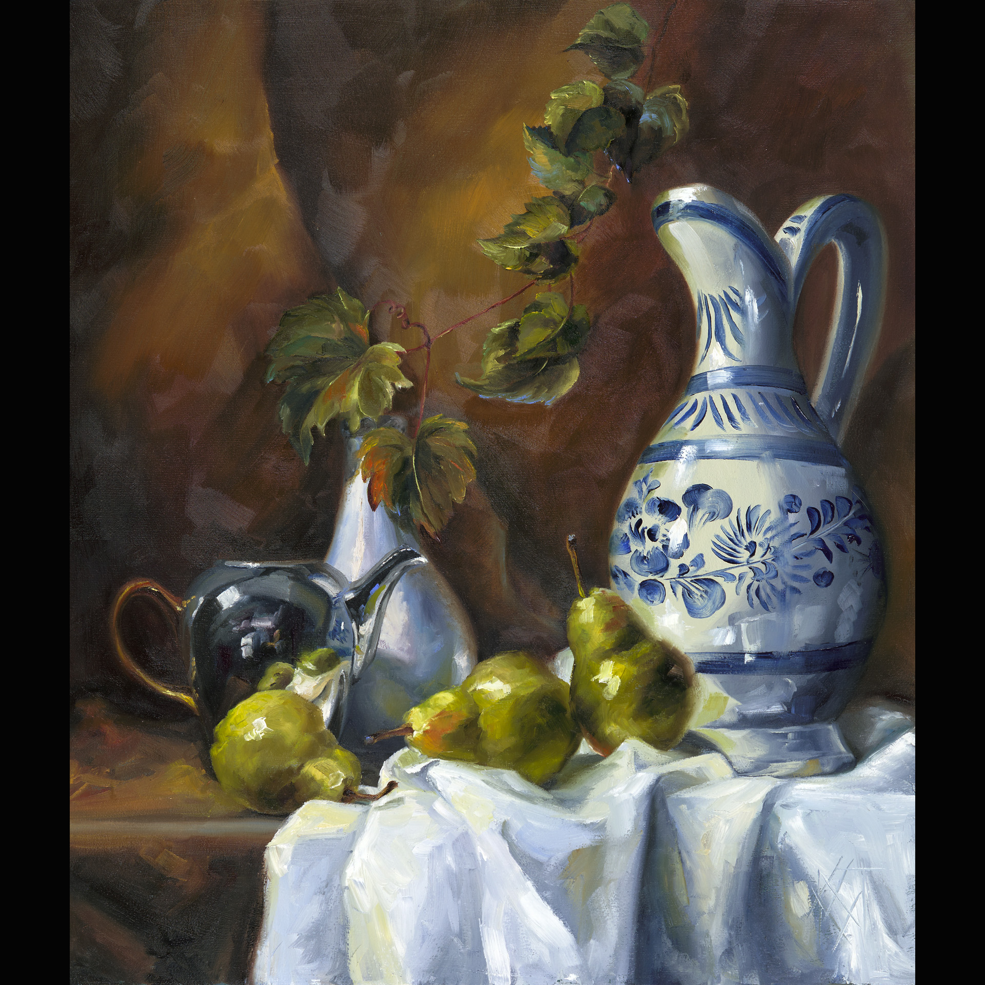 still life, classic, realism, fruit, Mexican pottery