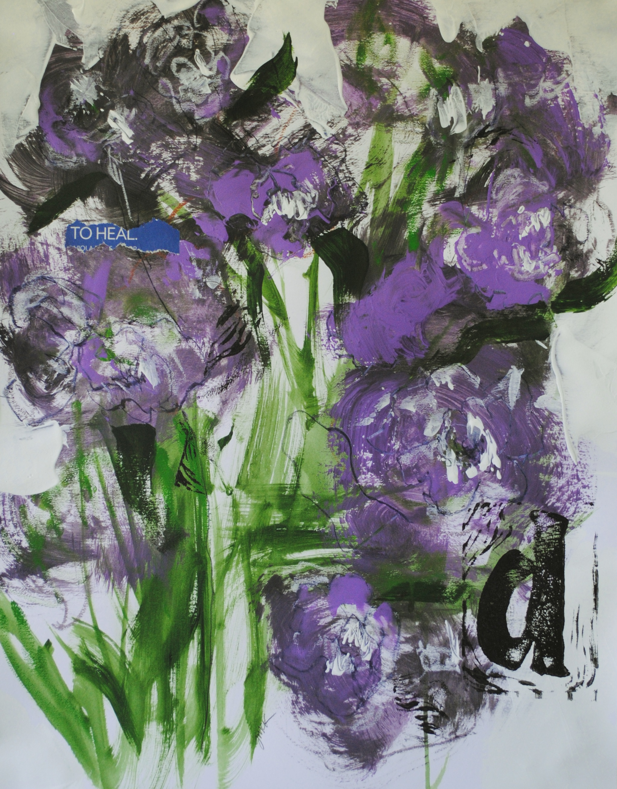 Absrtract painting of purple flowers with collage elements