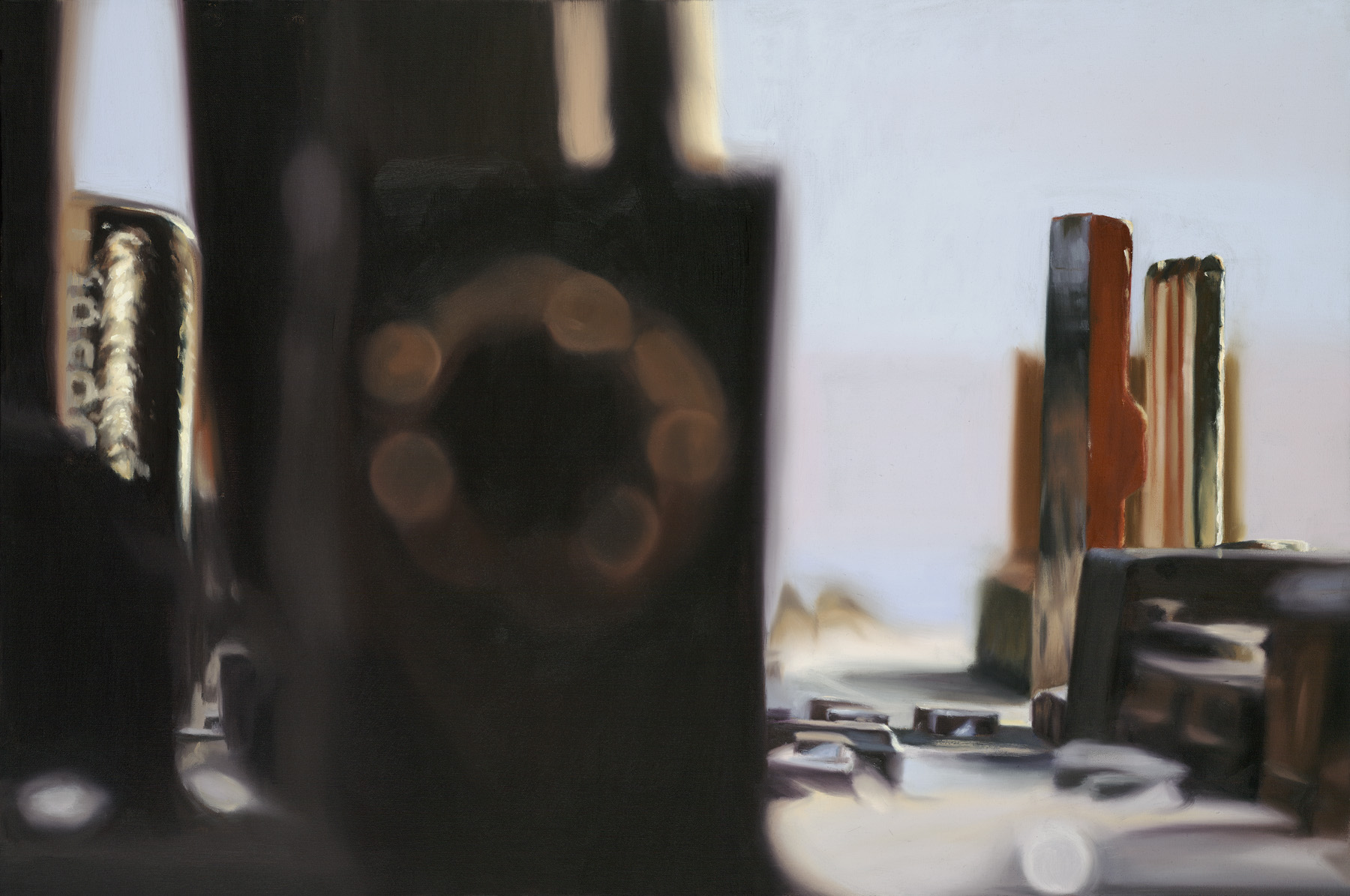 Glen Kessler's oil painting 'CircuitScape 9: Monolith and Rubble'