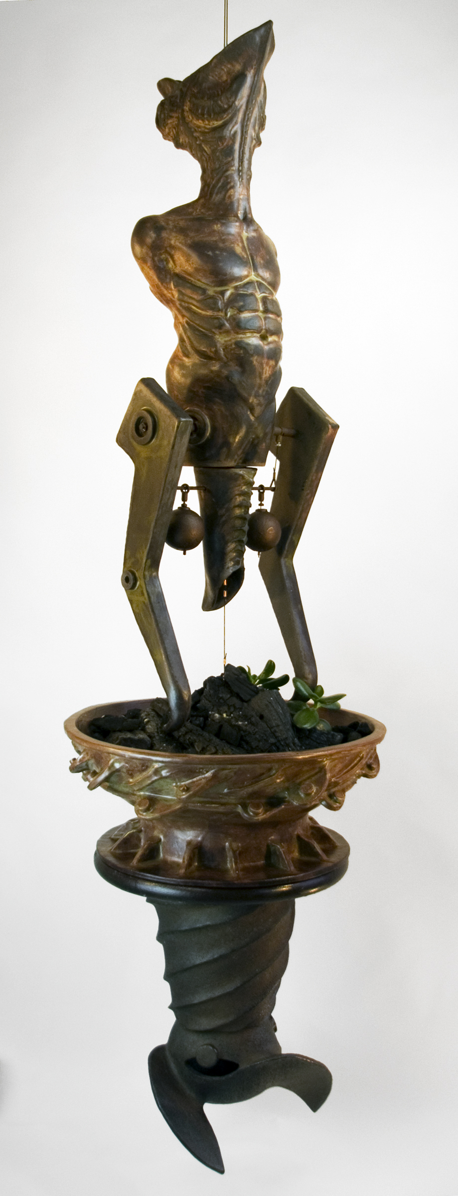 sculpture, environment, steel, clay, organic