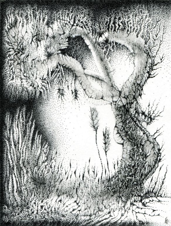 Ink stippling with a surreal tree and grassy ground