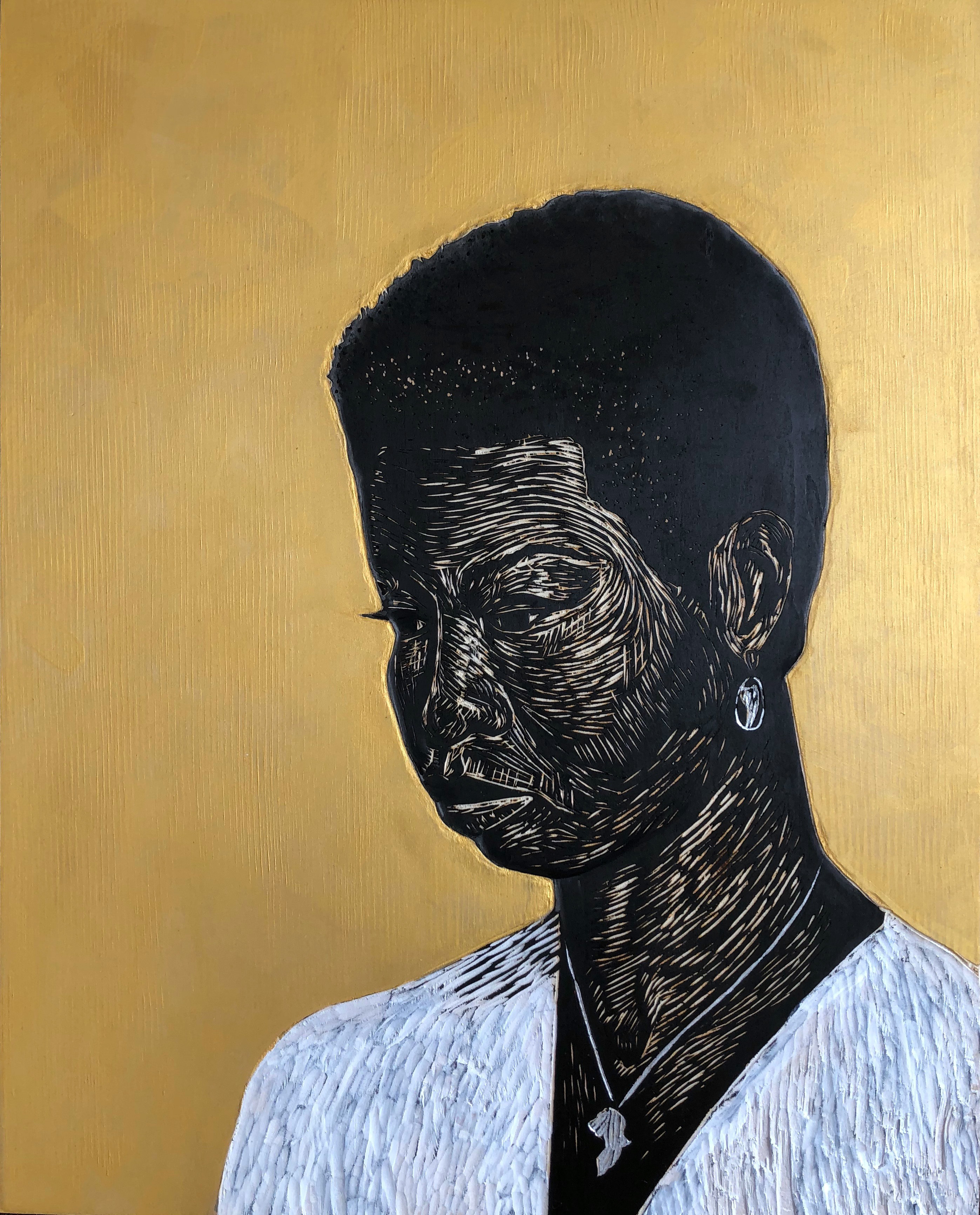 woodcut, relief carving, portrait, panel, mixed media, ink, black women, figurative art