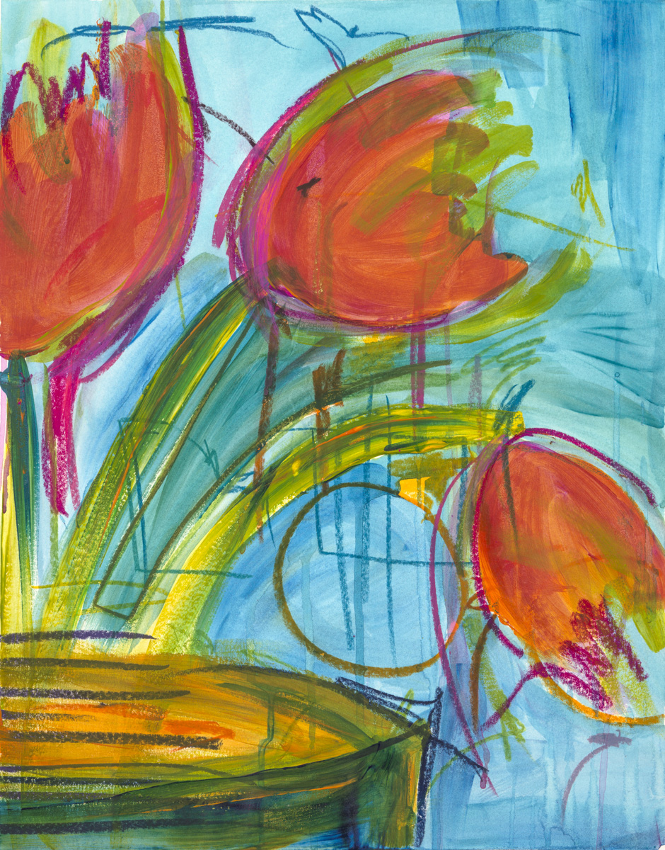 Bright orange tulips falling out of a slice of a vase, on a bright blue background, surrounded by lines and shapes