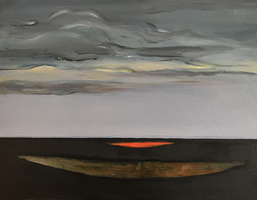 Oil on masonite, clouds with ocean and canoe shapes