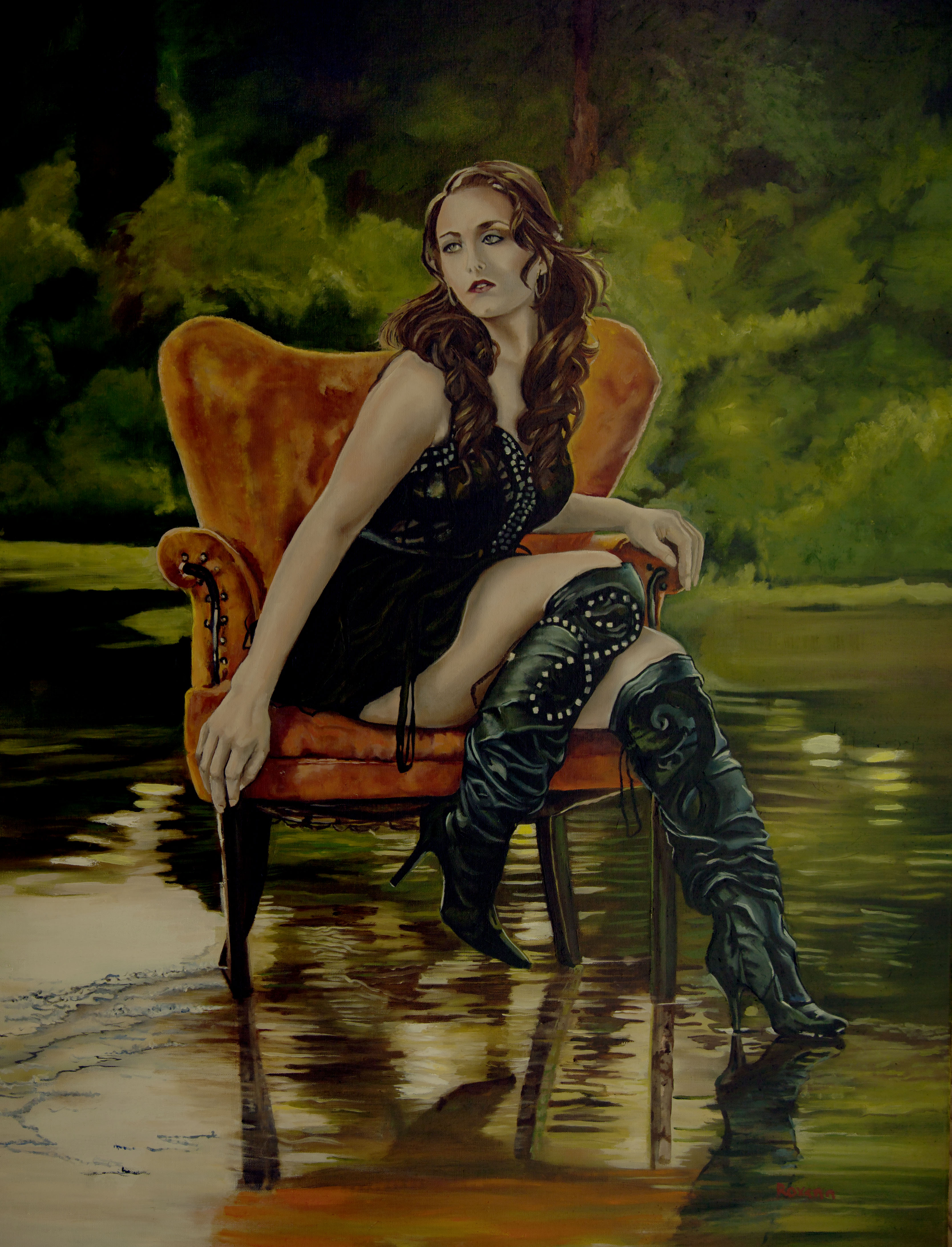 Large oil painting of a model doing photo shots