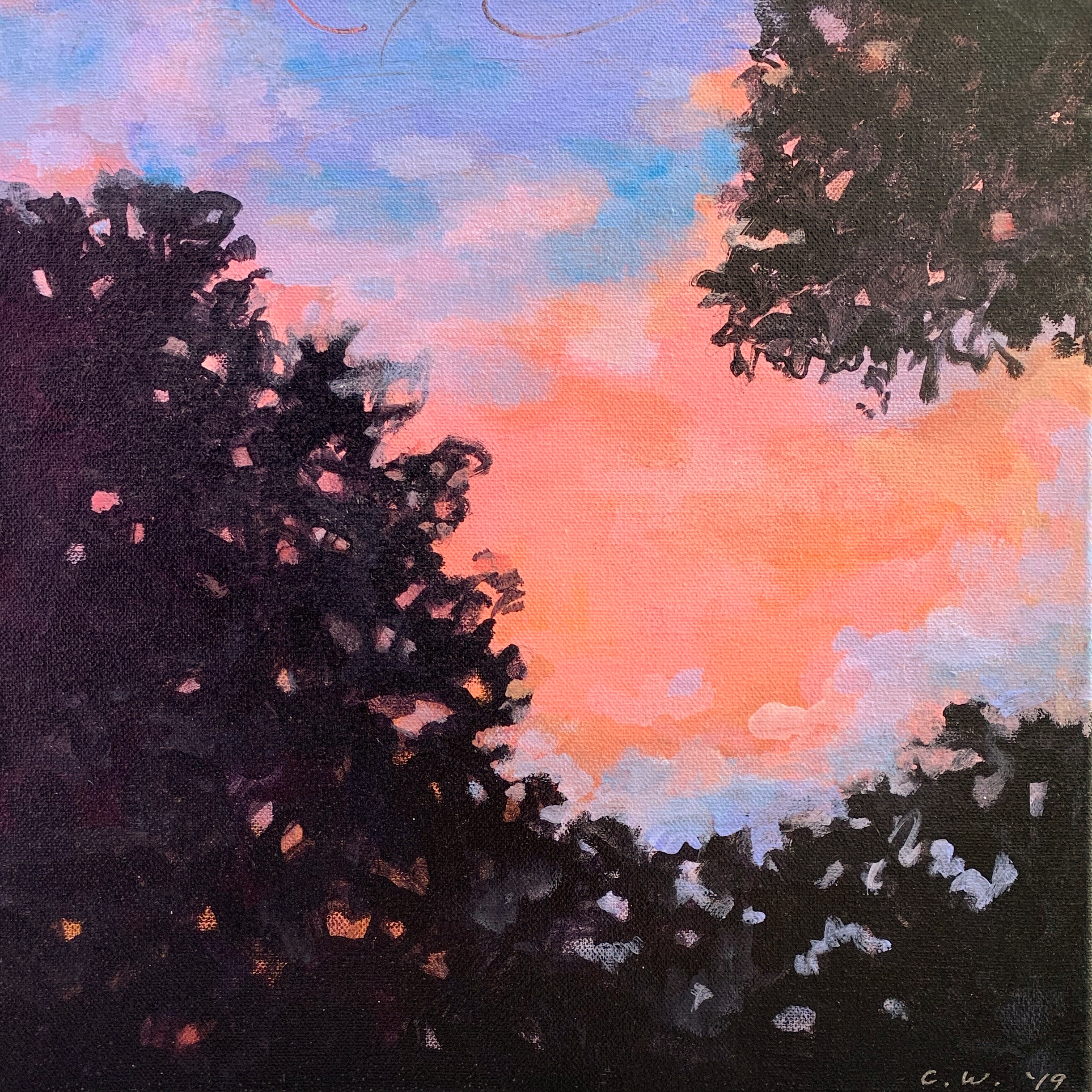 painting of pink sky, sunset and dark silhouetted trees