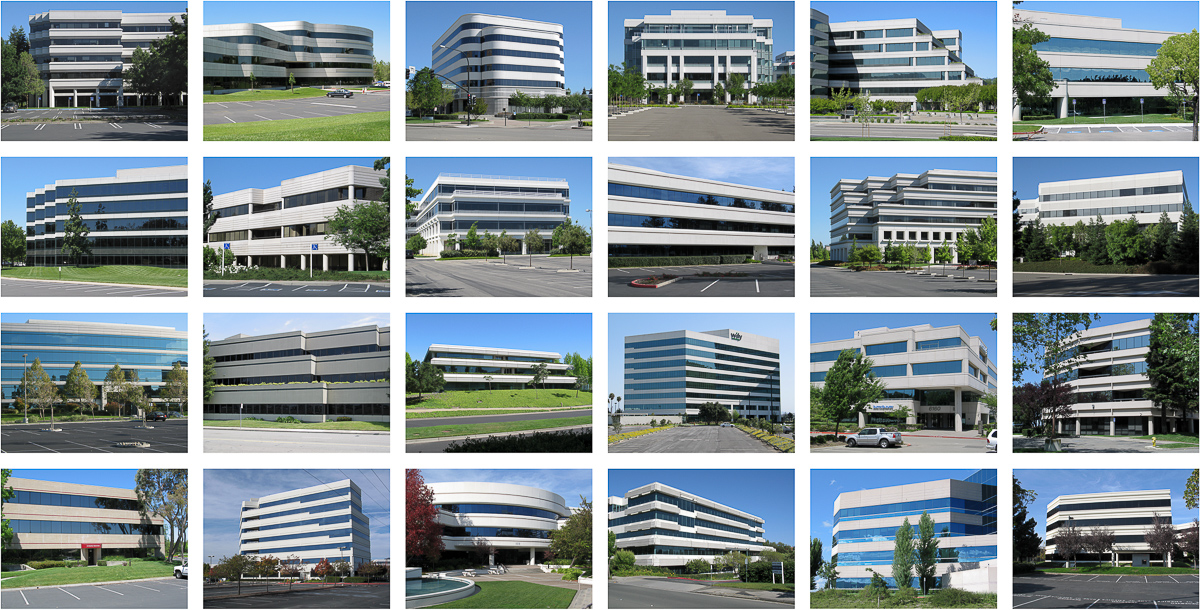 grid of 20 office park photos, from the series Ridgemont Typologies
