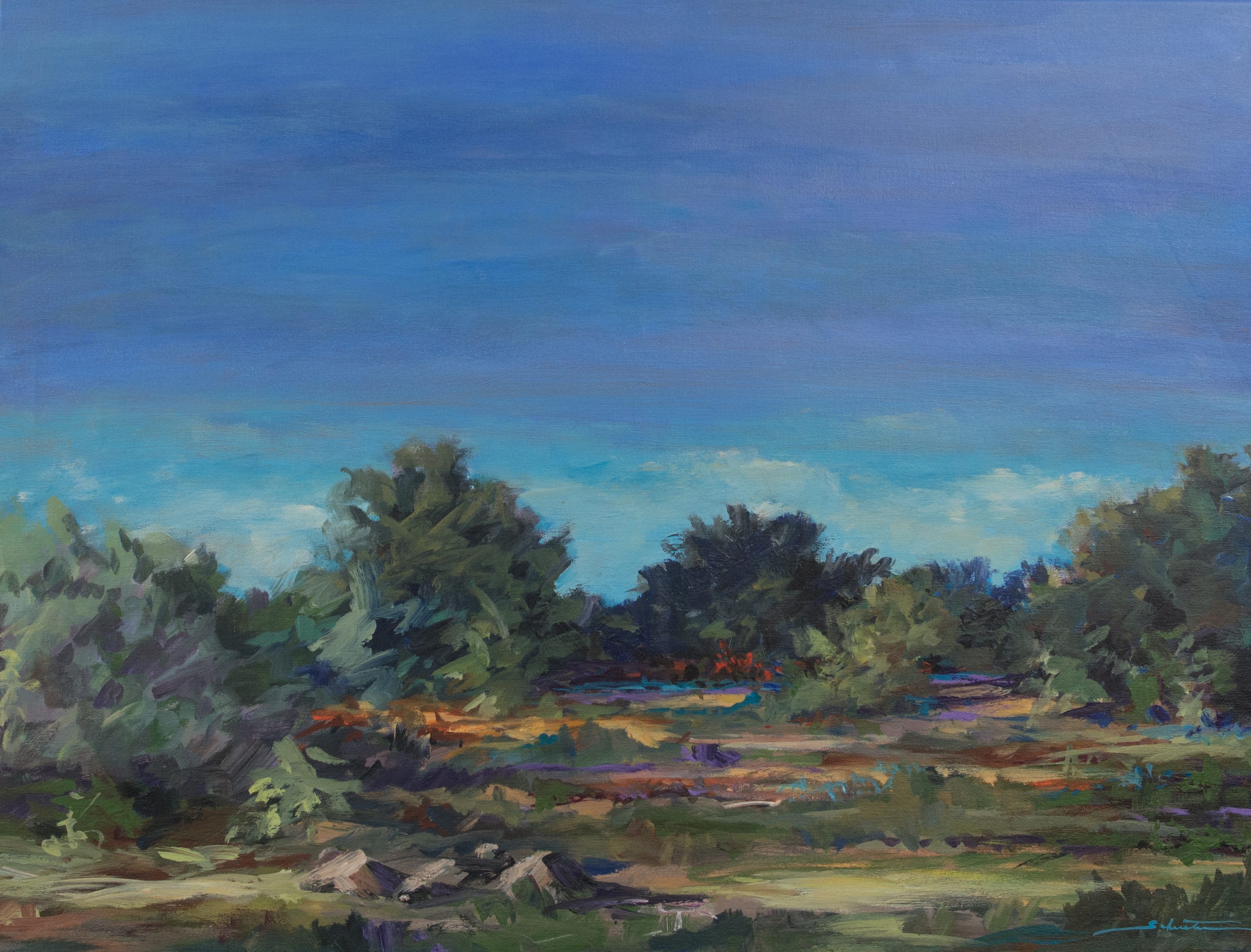 Painting of a landscape just before sunset