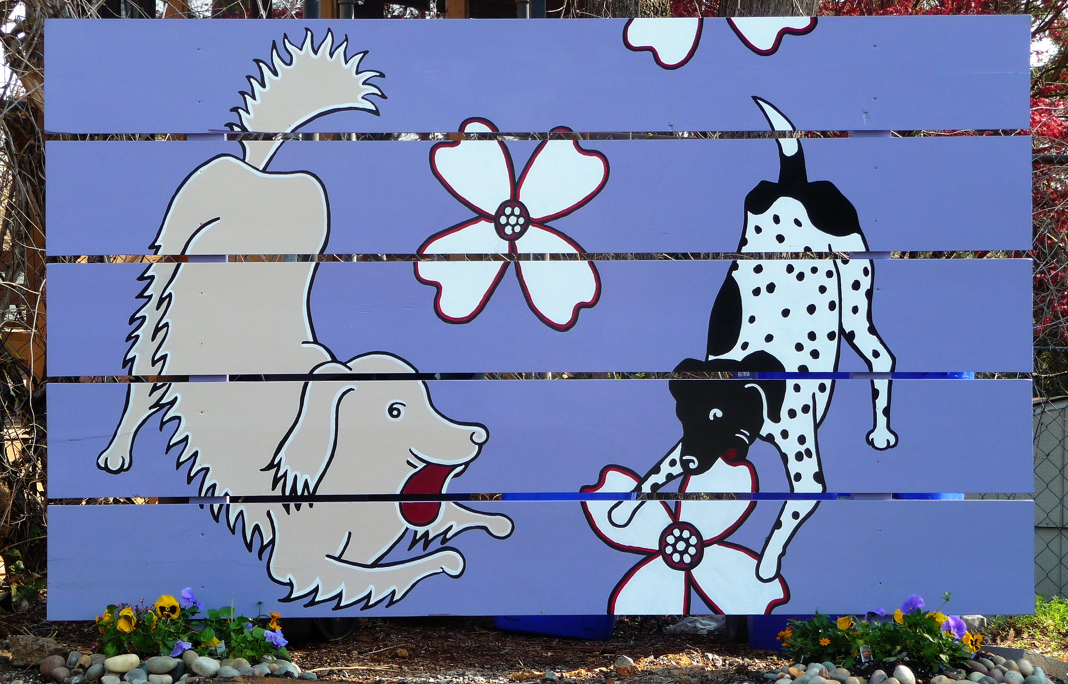 Dogs and Dogwoods mural