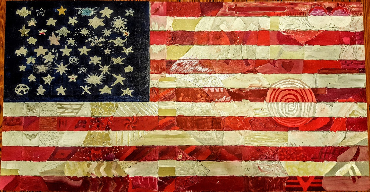 American Flag Carved into plywood and painted by 60 participants.  Subtle imagery can be discerned within the patterns of color.