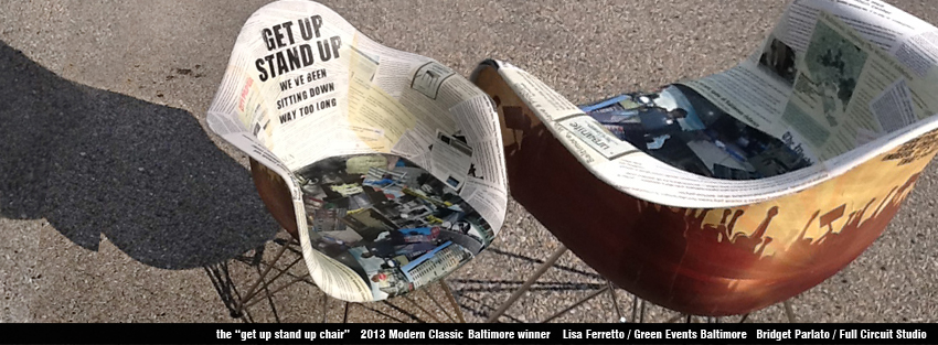Collaged chair featuring Baltimore issues - plays Get Up Stand Up