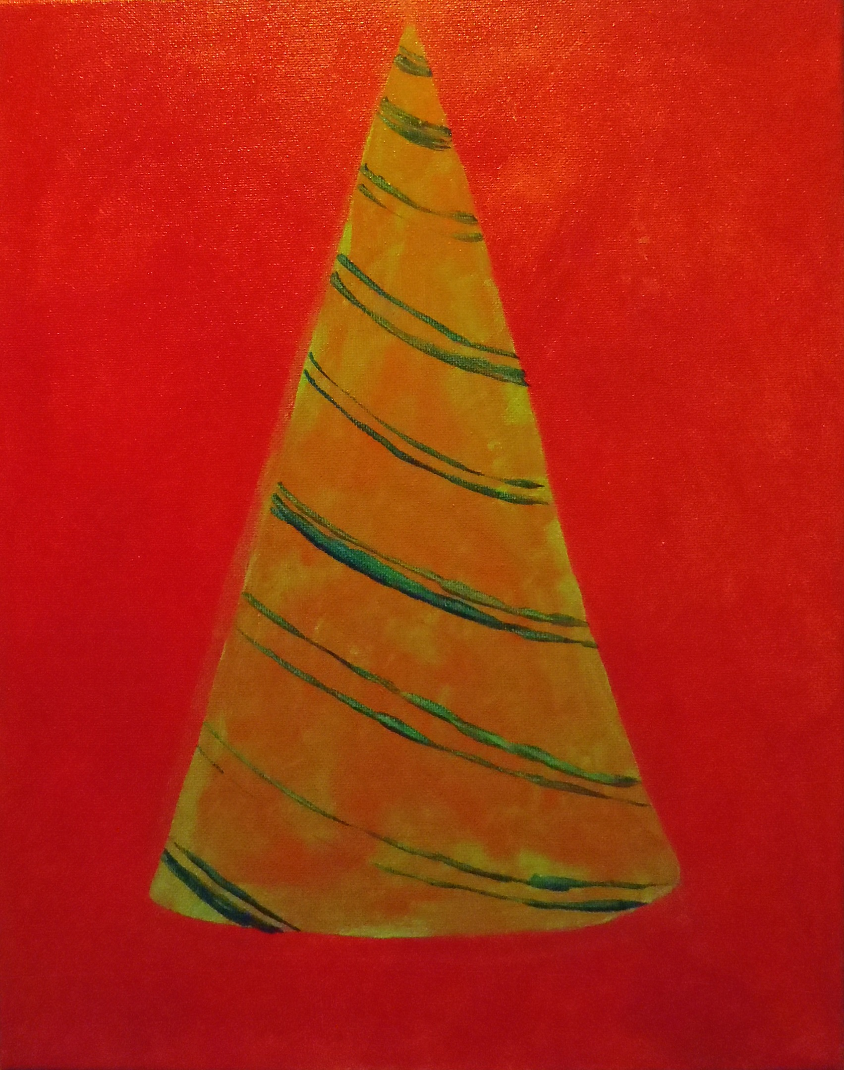 "Lara Ghelerter, ""Party Hat: Red, Orange, and Green"""