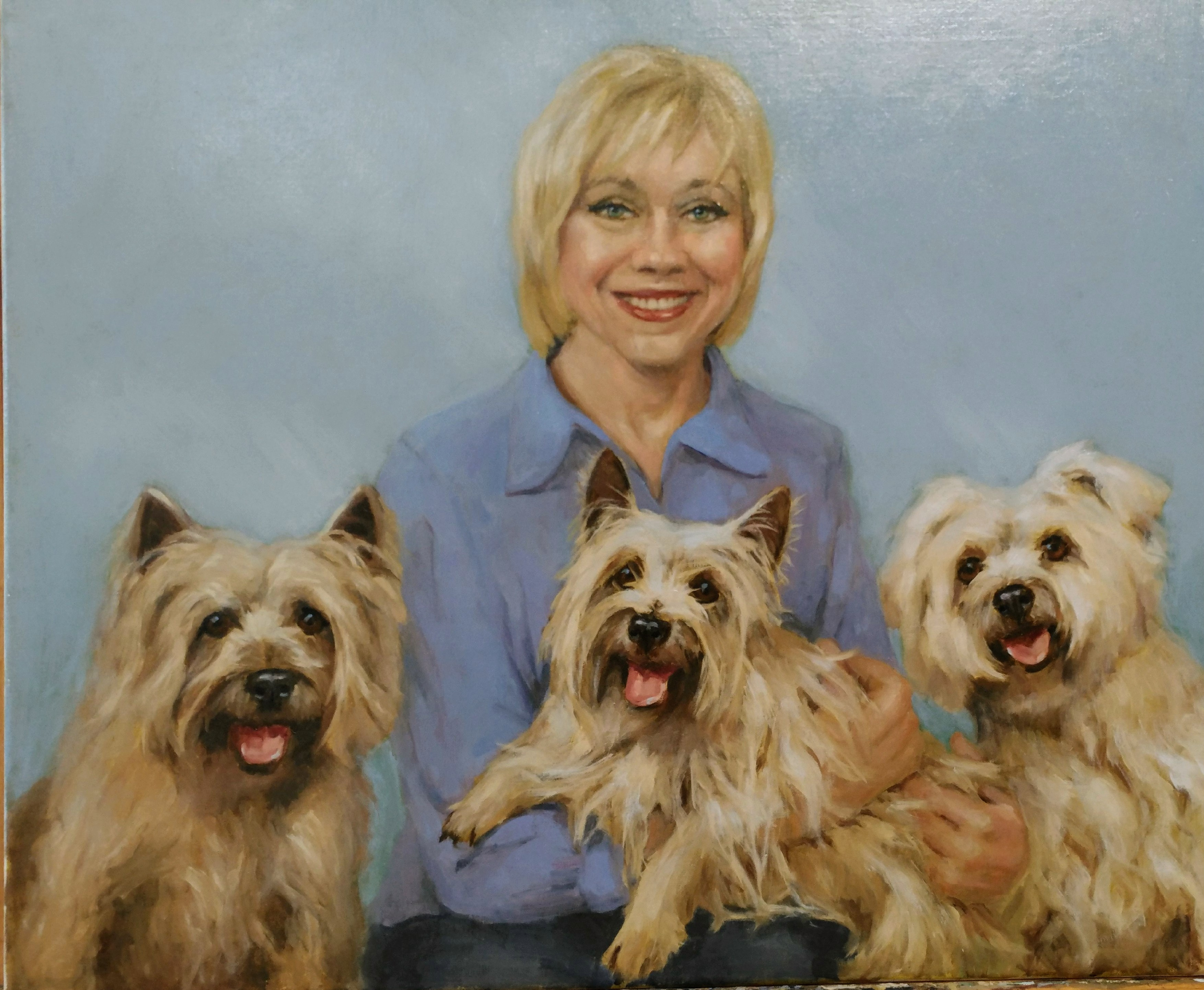 Portrait of Patti with her 3 Terriors