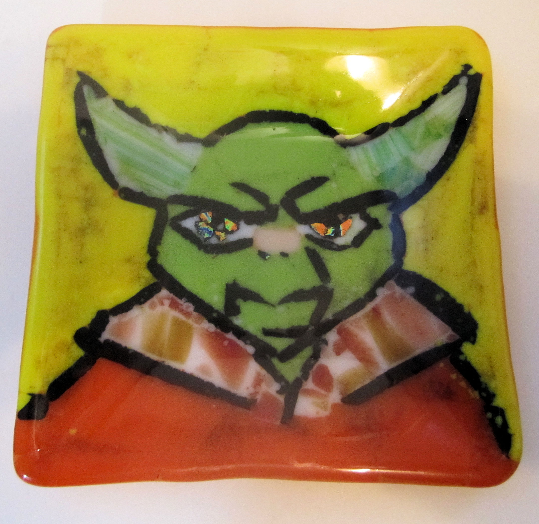 Original Fused Glass Art Plate Yoda, made with glass frit