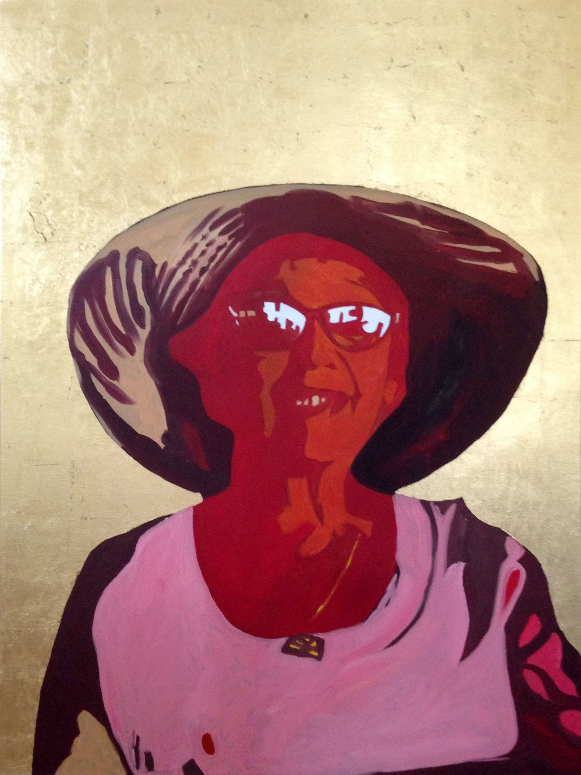 Portrait of a woman with a gold leaf background