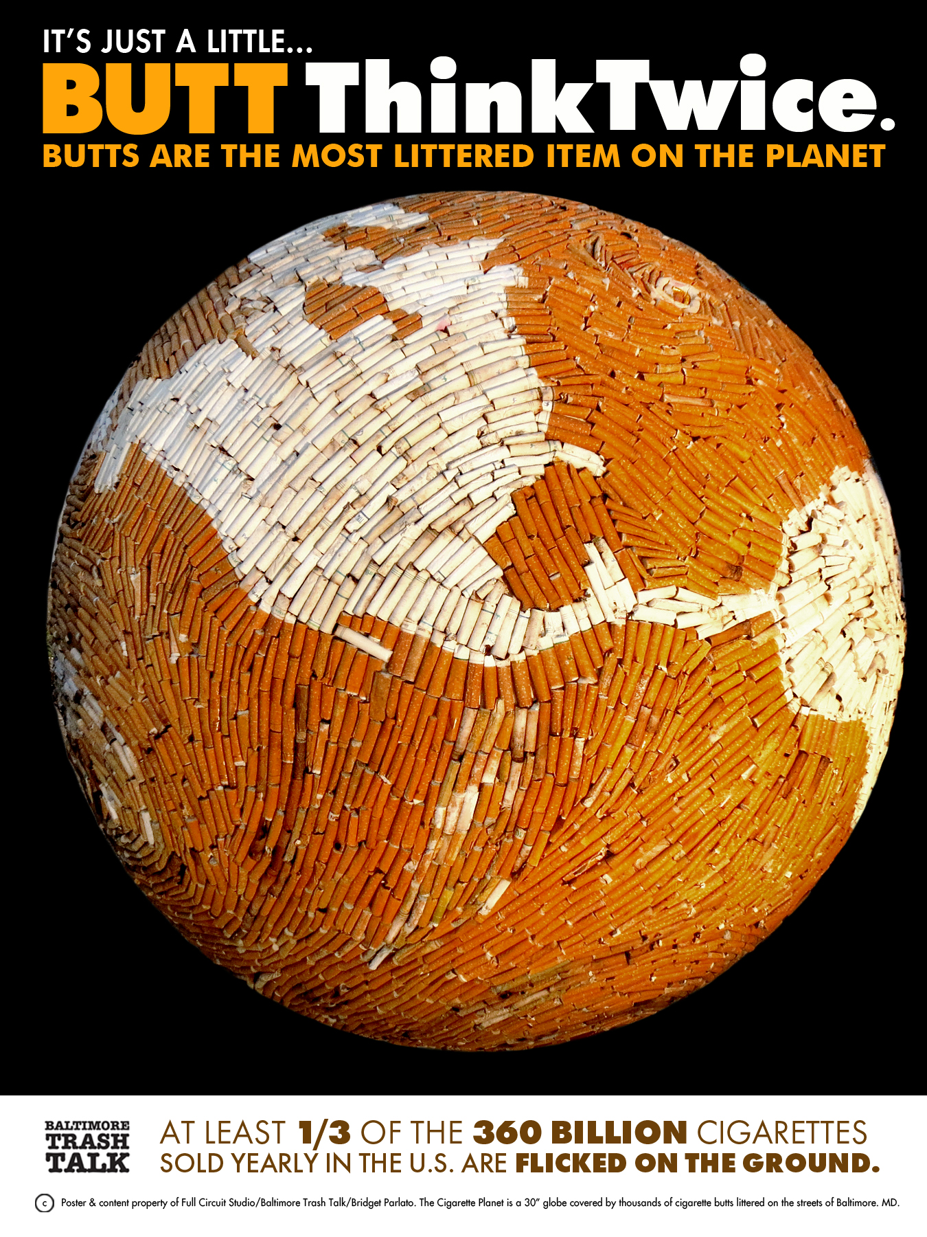 """30"""" globe created from paper mache and cigarette butts"""