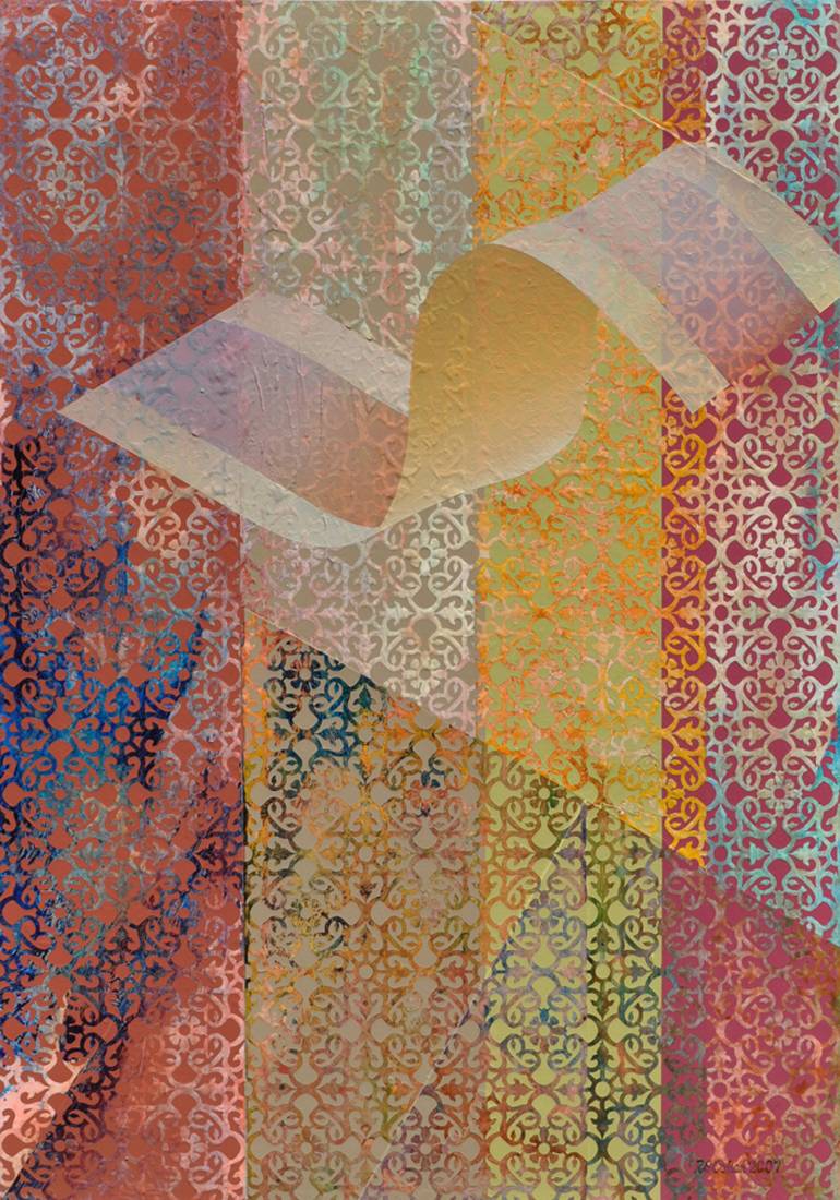 abstract painting w patterned background