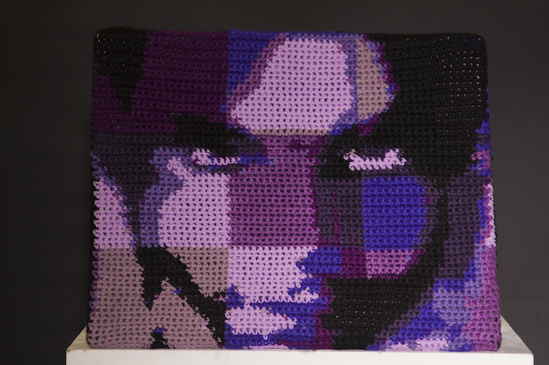 Crocheted portrait of Prince Rogers Nelson