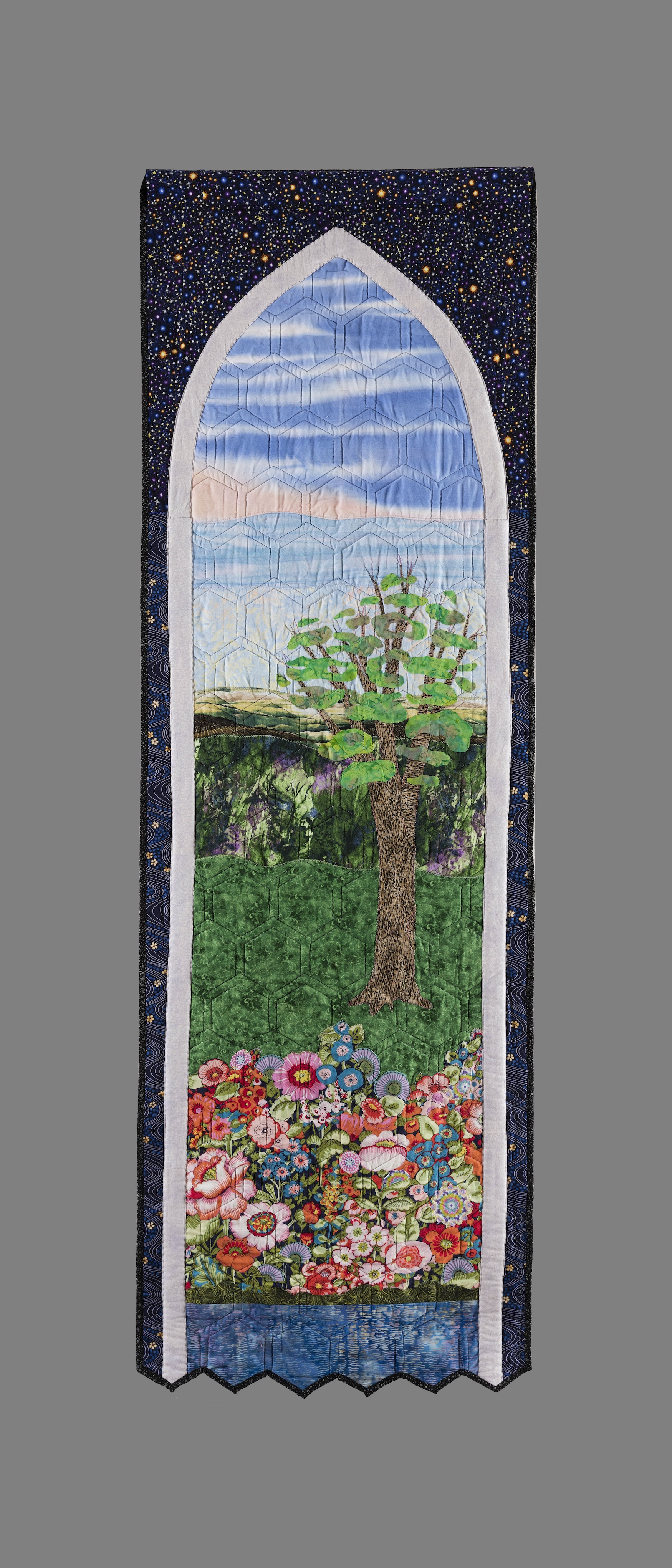 Art Quilt - Peaceful landscape through an arched window