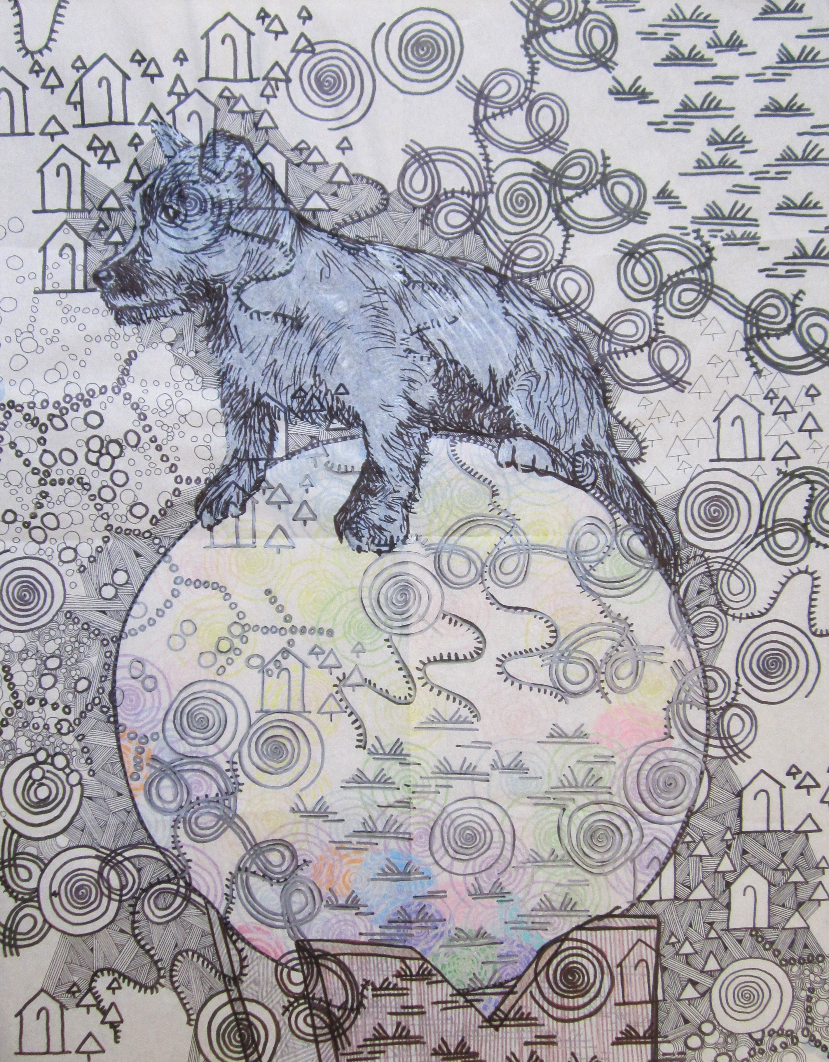 dog standing on a large ball surrounded by layers of pattern